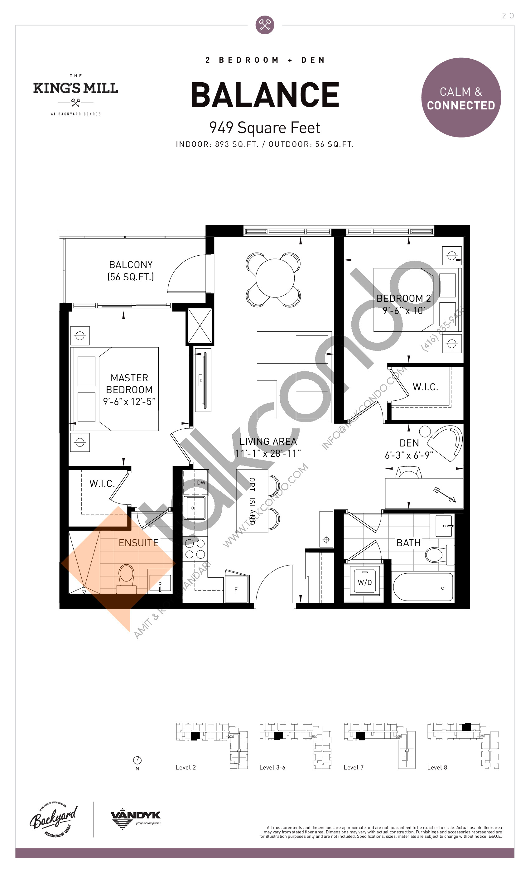 Balance Floor Plan at The King's Mill Condos - 893 sq.ft