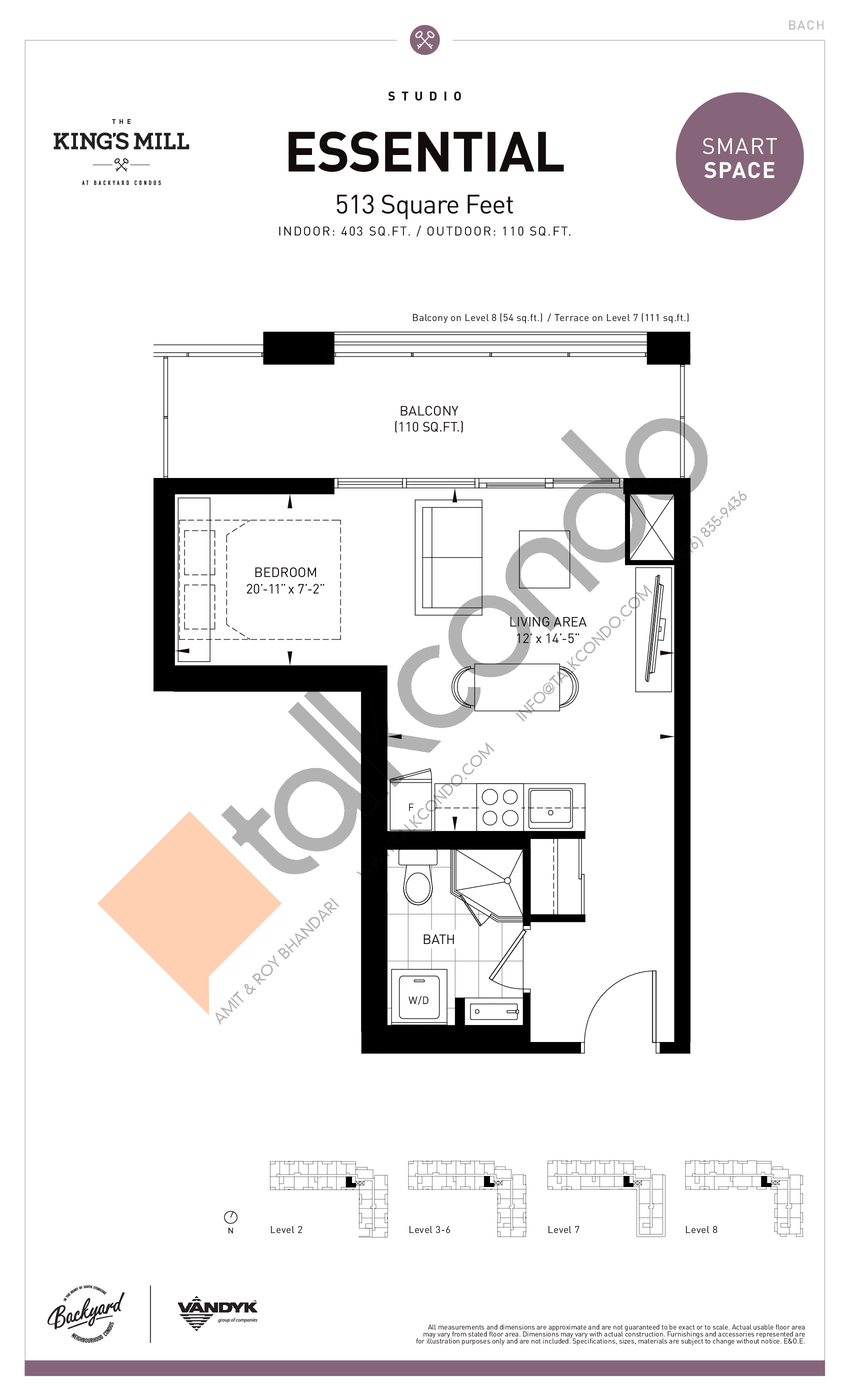 Essential Floor Plan at The King's Mill Condos - 403 sq.ft