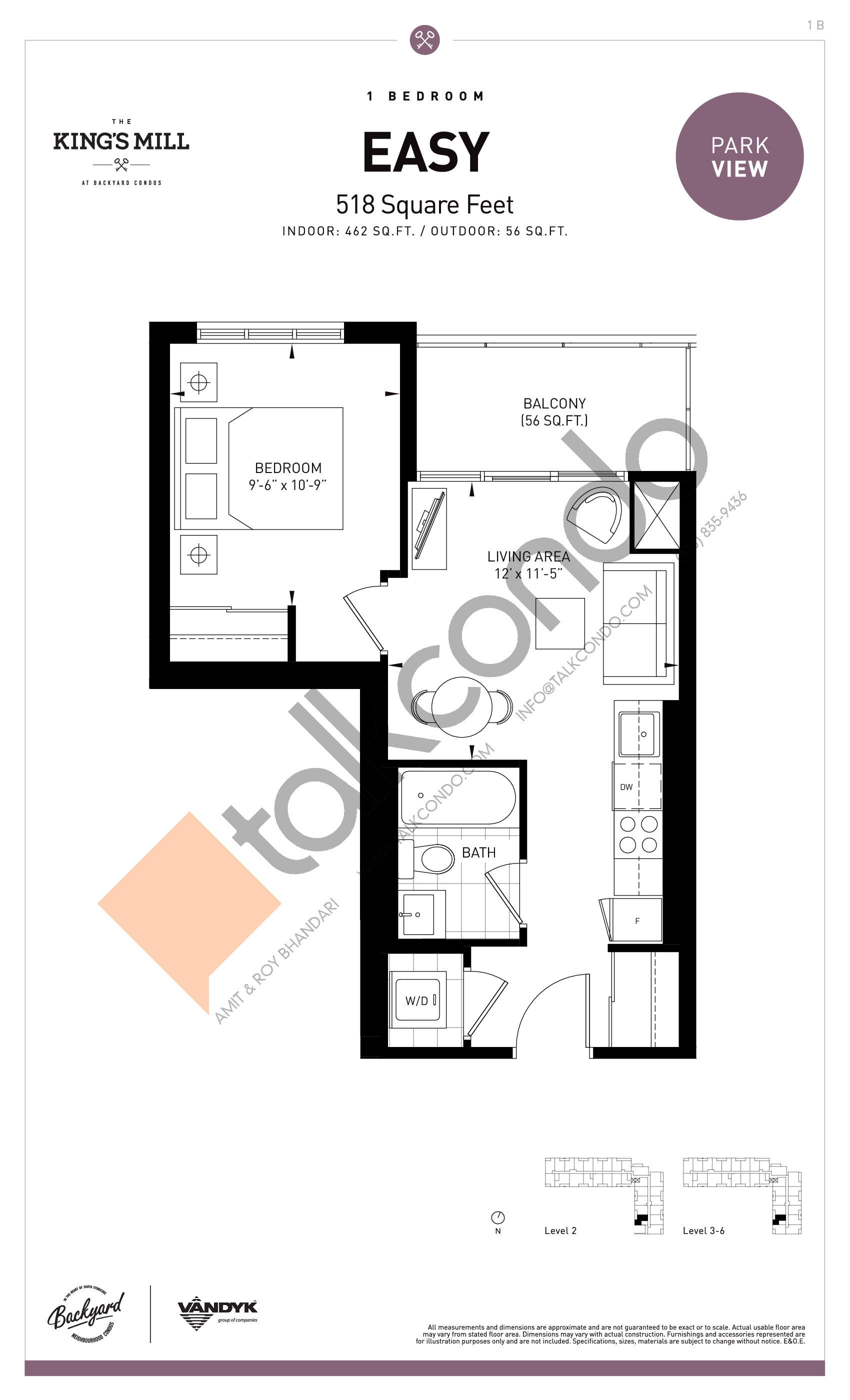 Easy Floor Plan at The King's Mill Condos - 462 sq.ft