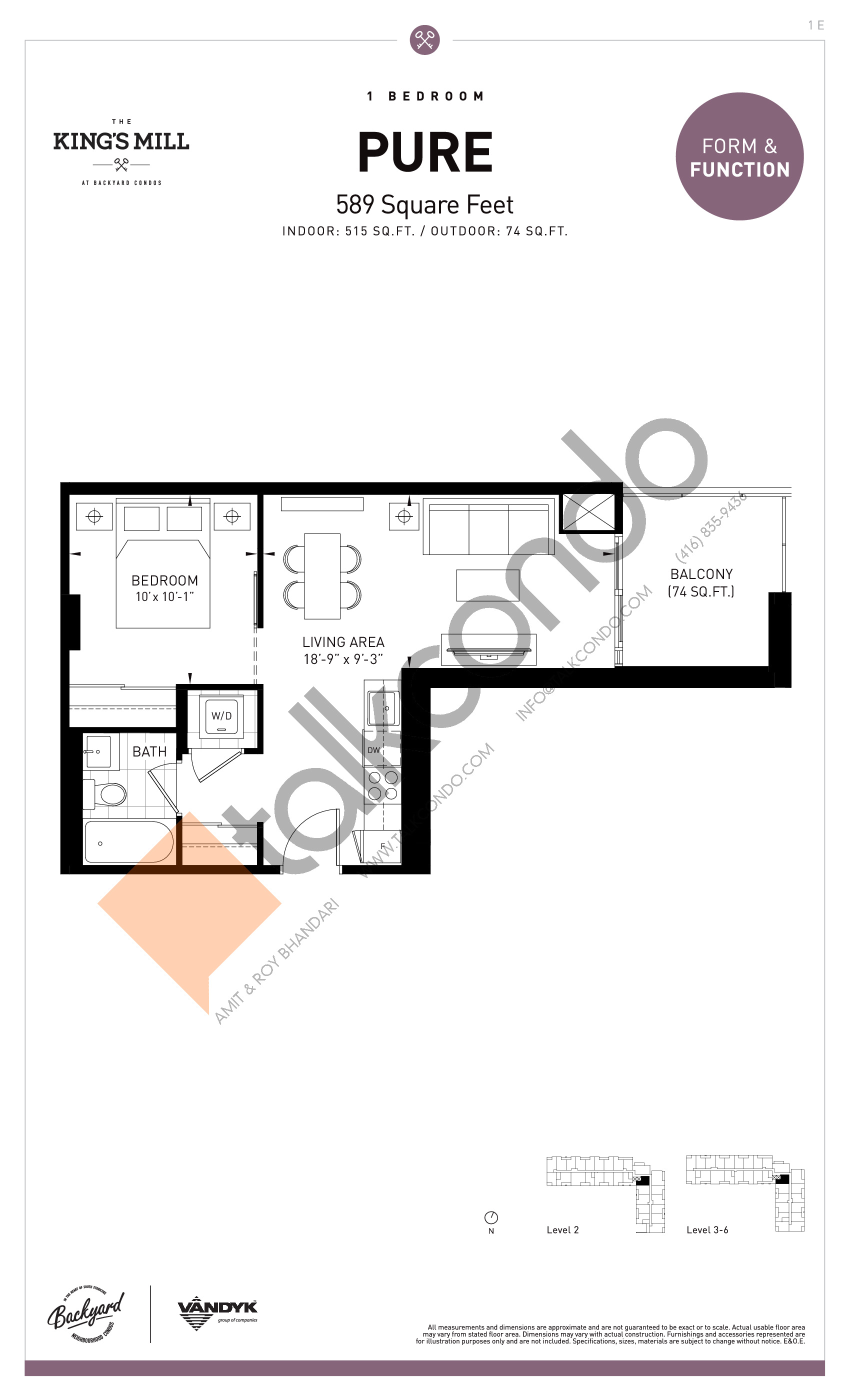 Pure Floor Plan at The King's Mill Condos - 515 sq.ft