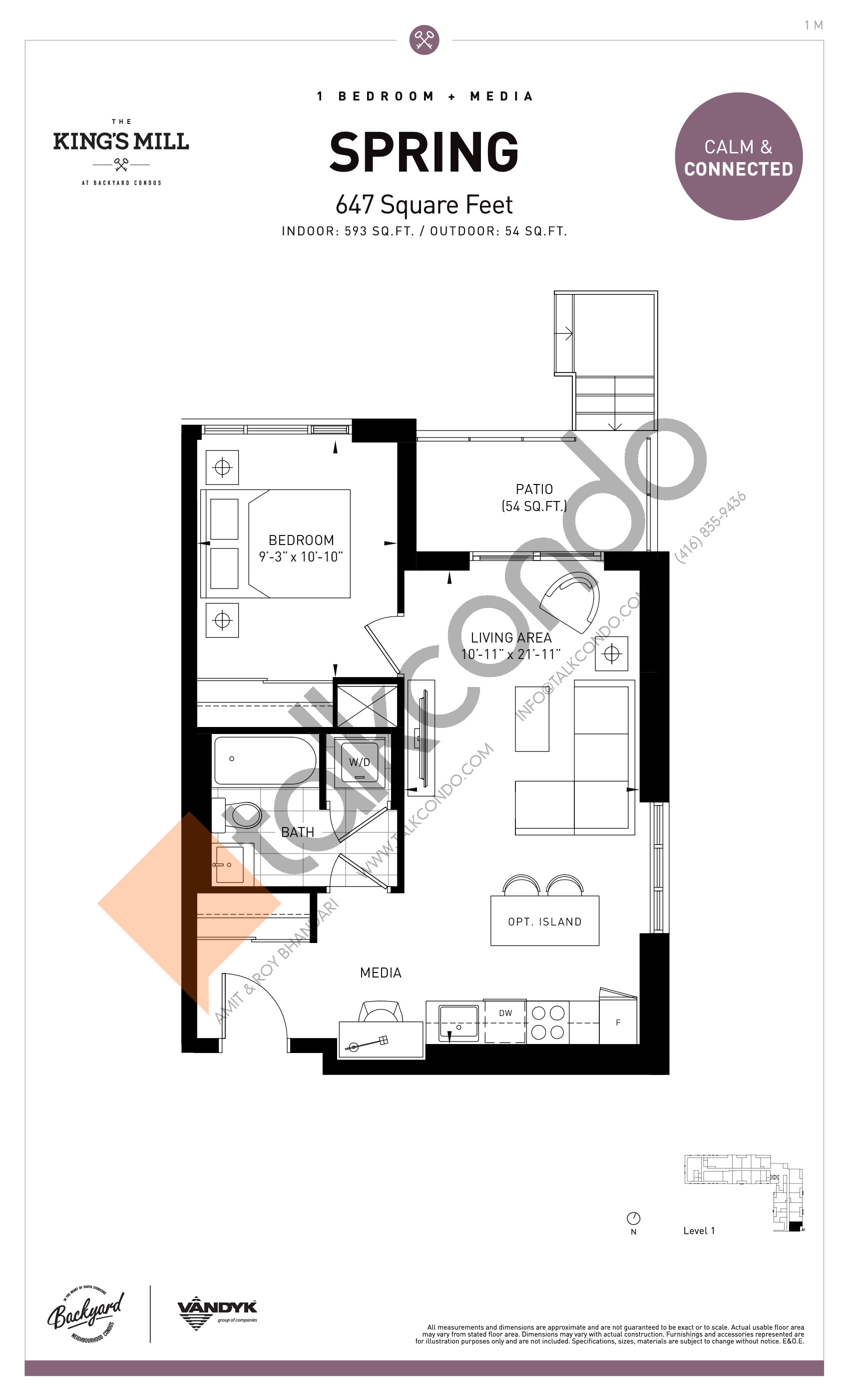 Spring Floor Plan at The King's Mill Condos - 593 sq.ft