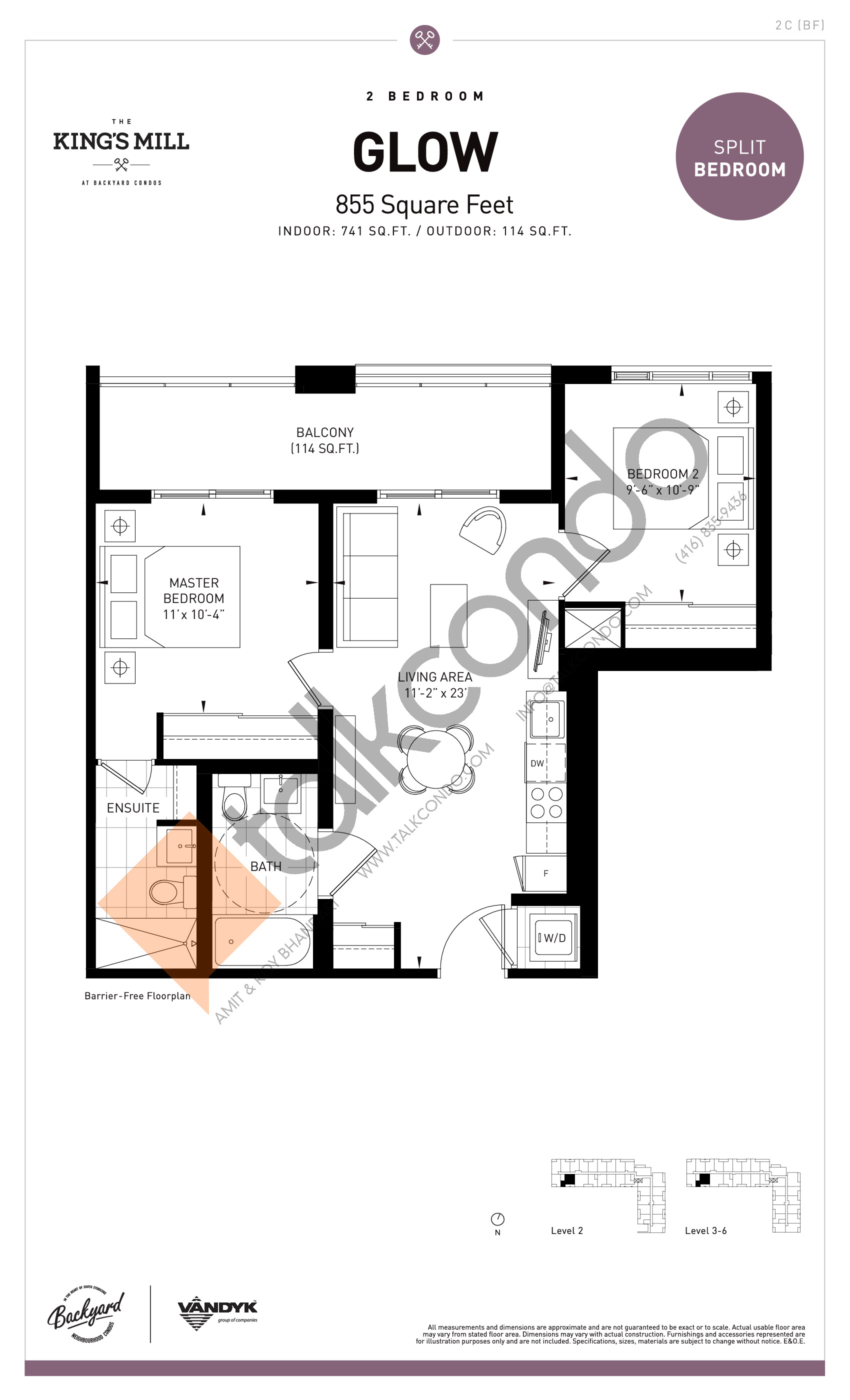 Glow Floor Plan at The King's Mill Condos - 741 sq.ft