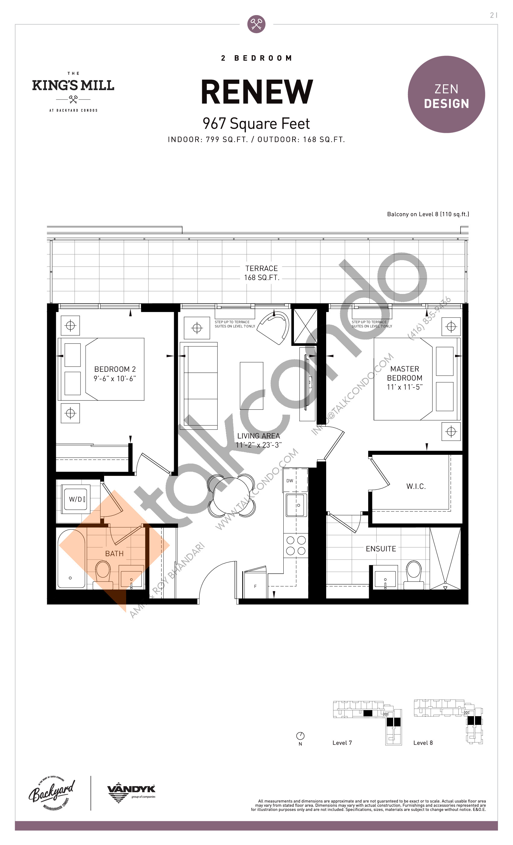 Renew Floor Plan at The King's Mill Condos - 799 sq.ft