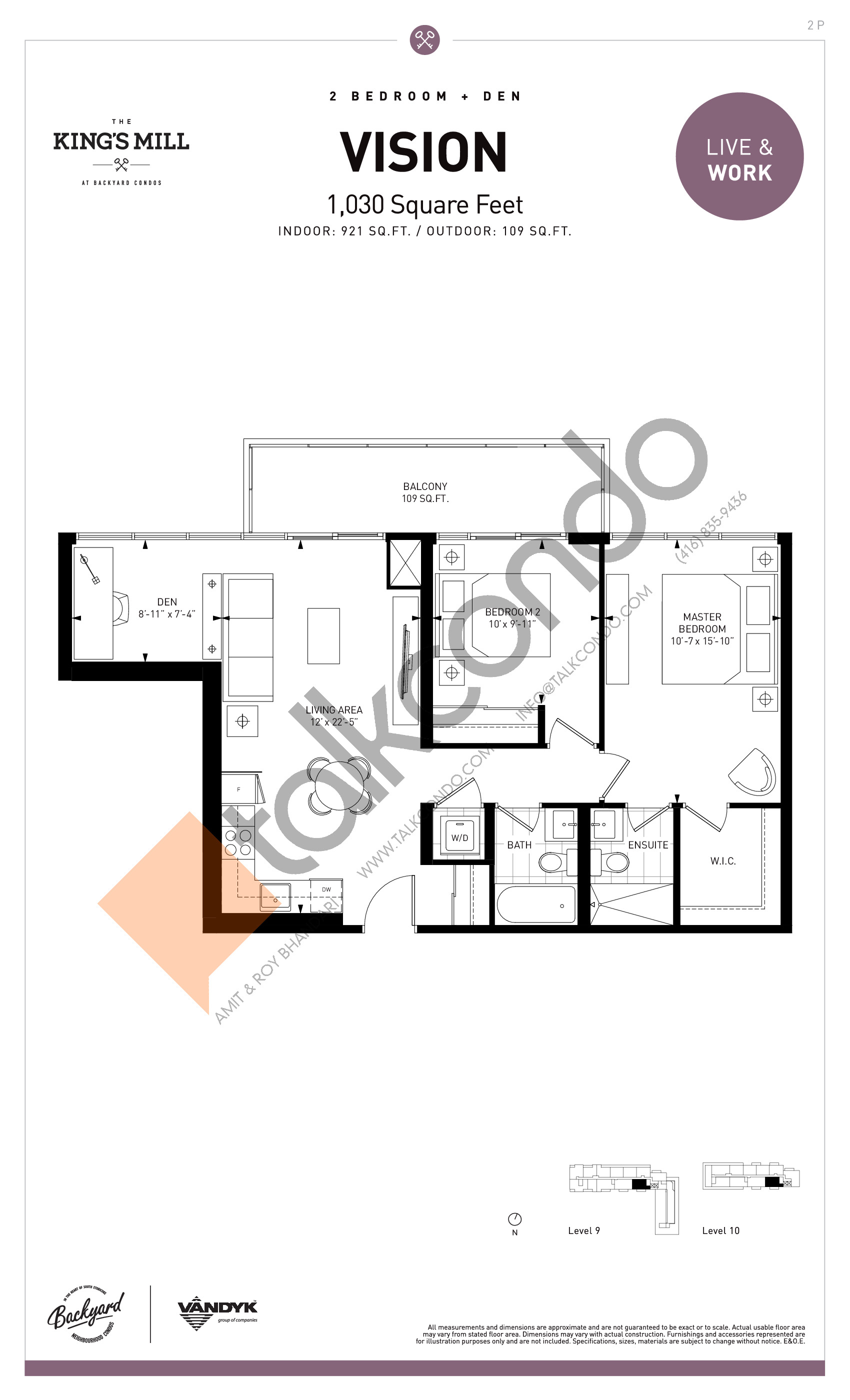 Vision Floor Plan at The King's Mill Condos - 921 sq.ft