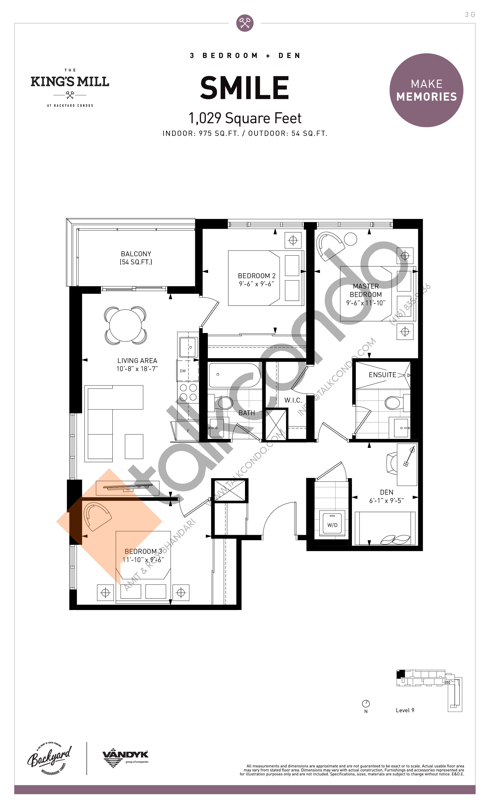 Smile Floor Plan at The King's Mill Condos - 975 sq.ft