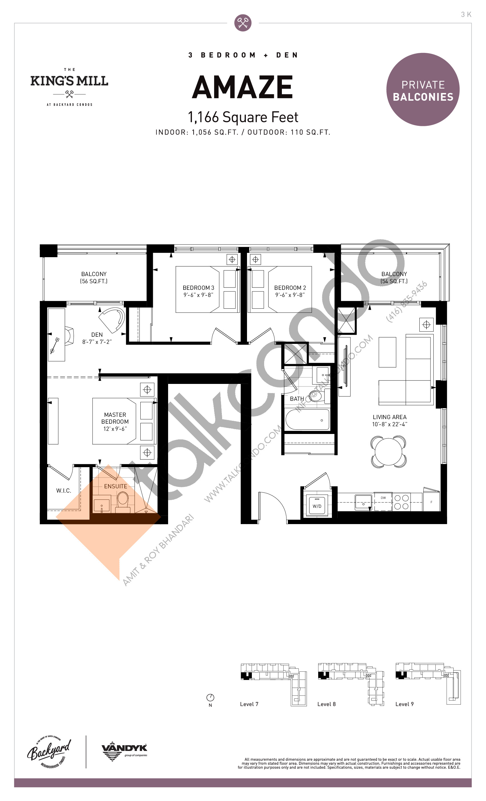 Amaze Floor Plan at The King's Mill Condos - 1056 sq.ft