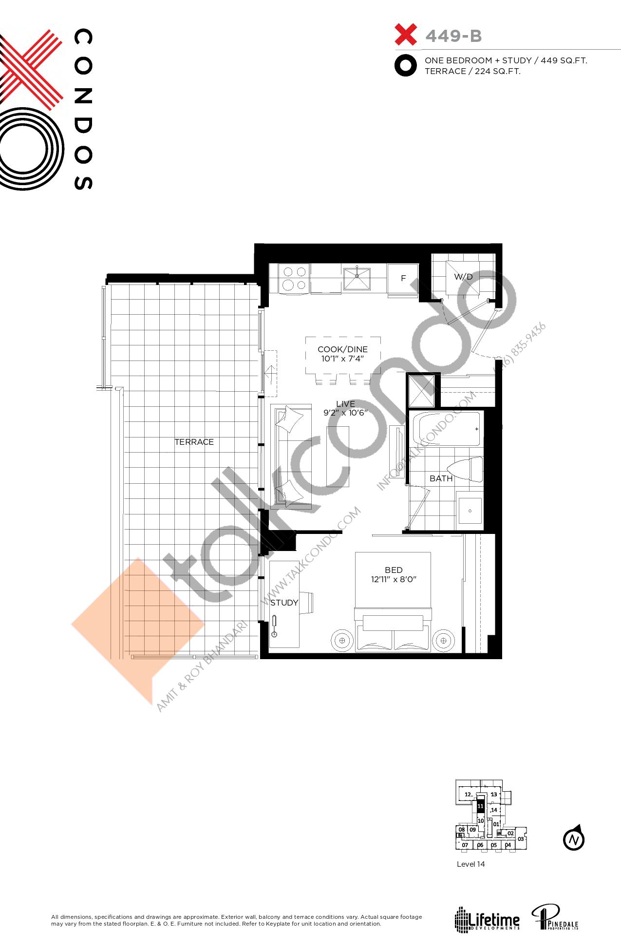 X449-B Floor Plan at XO Condos - 449 sq.ft