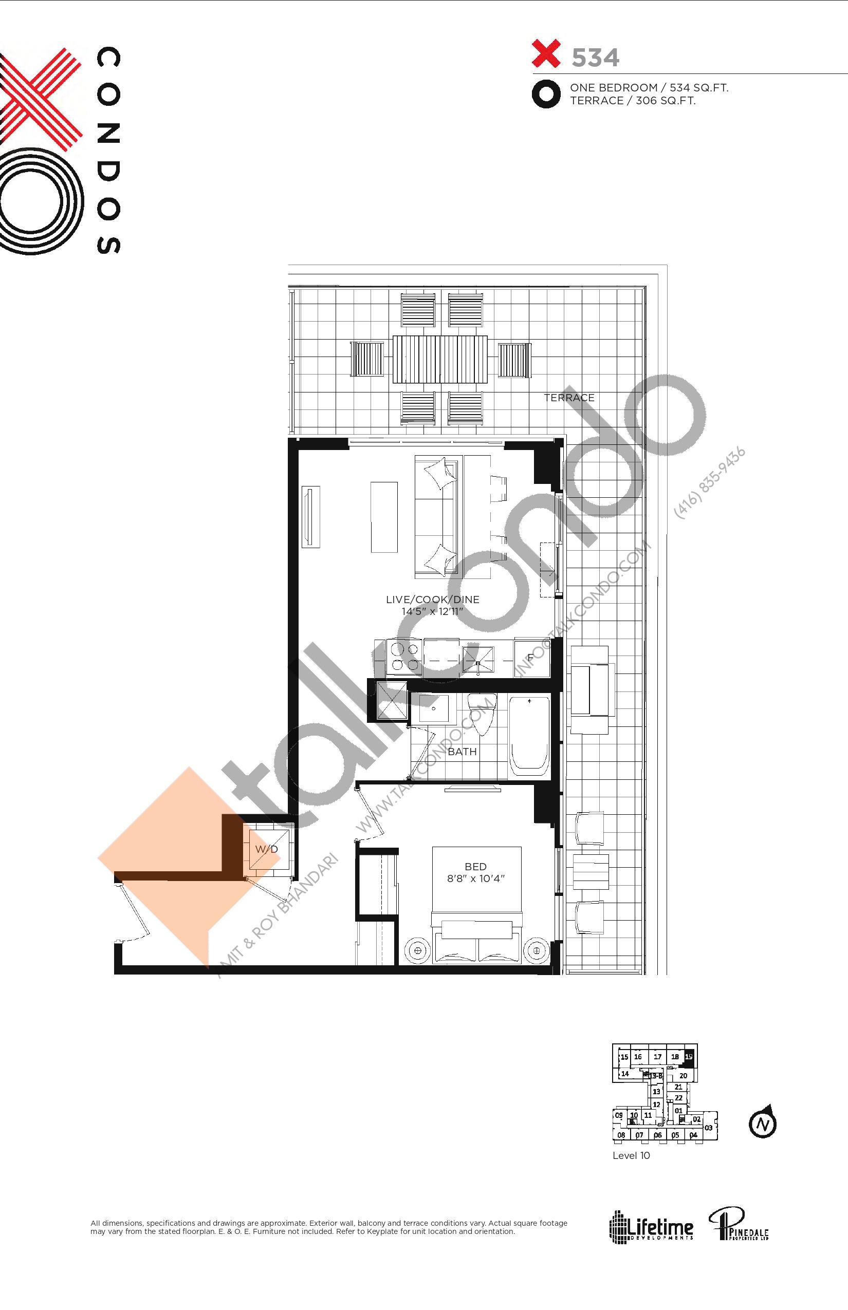 X534 Floor Plan at XO Condos - 534 sq.ft