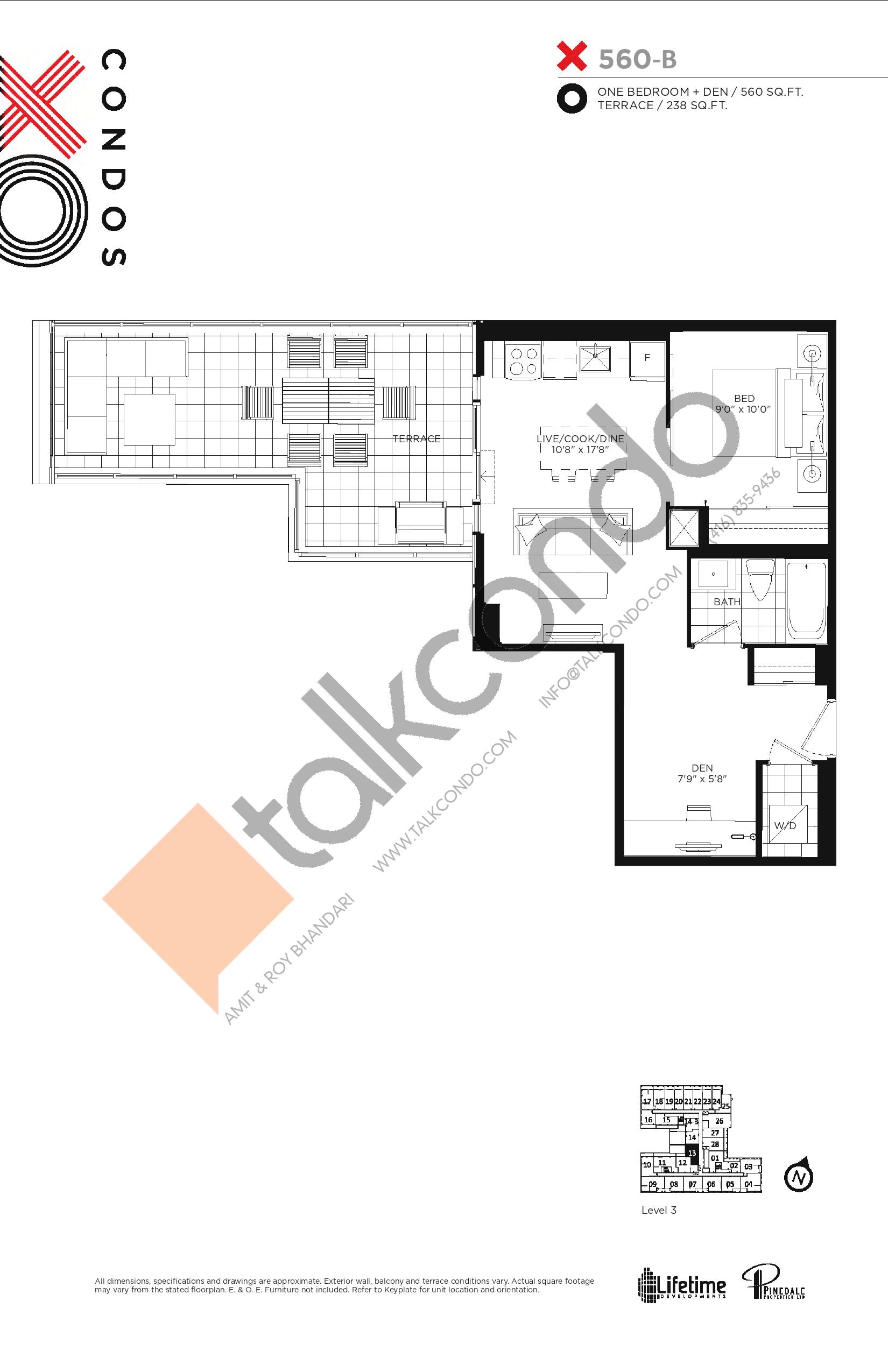 X560-B Floor Plan at XO Condos - 560 sq.ft