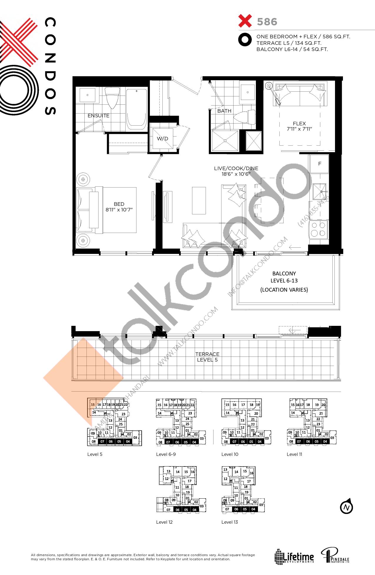 X586 Floor Plan at XO Condos - 586 sq.ft