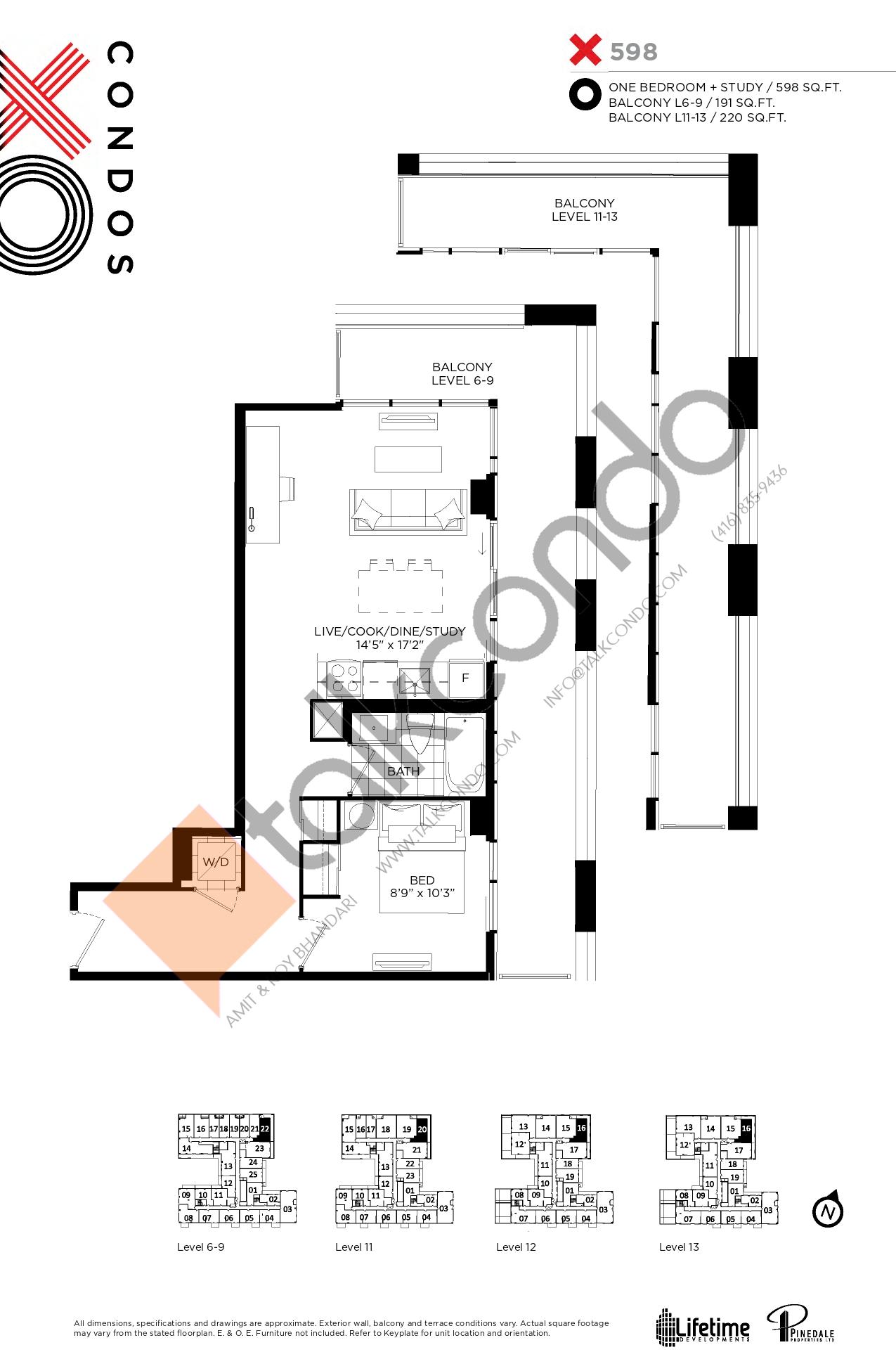 X598 Floor Plan at XO Condos - 598 sq.ft