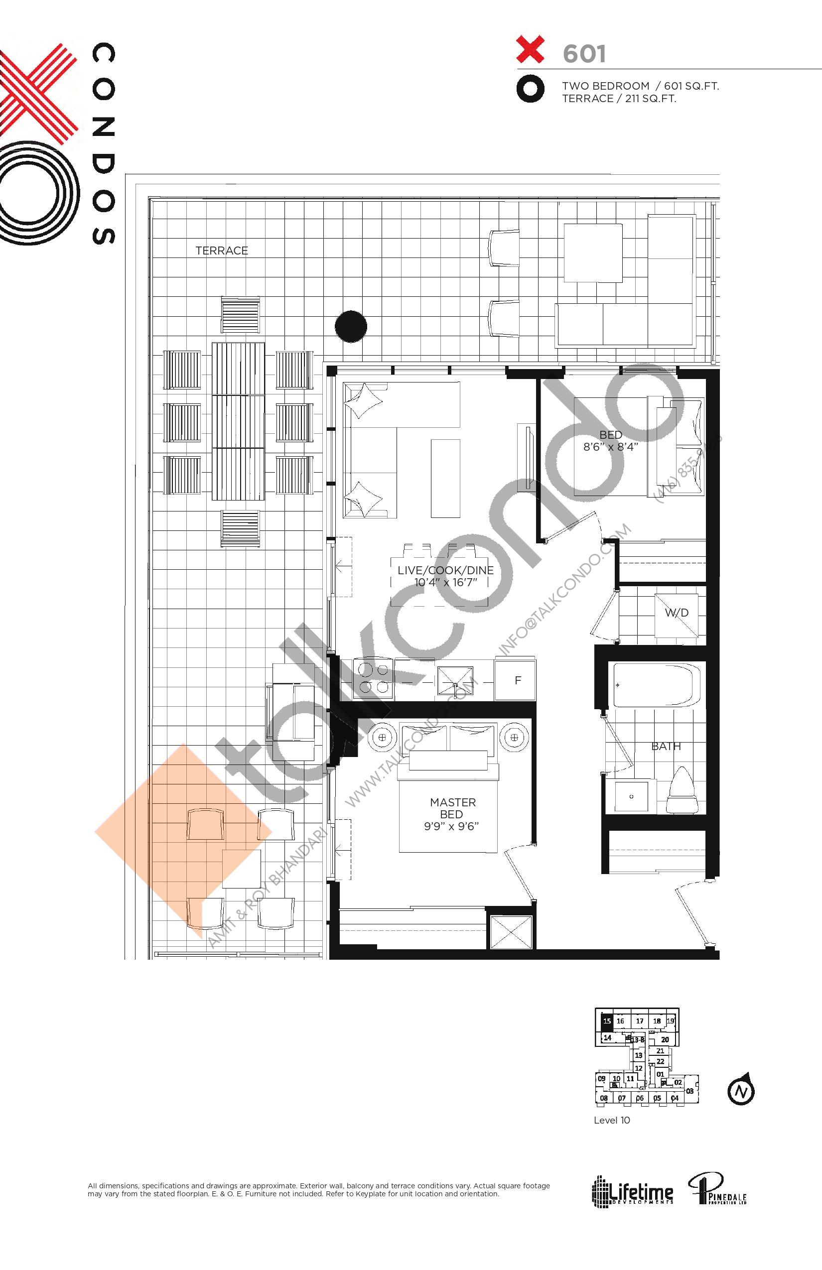 X601 Floor Plan at XO Condos - 601 sq.ft