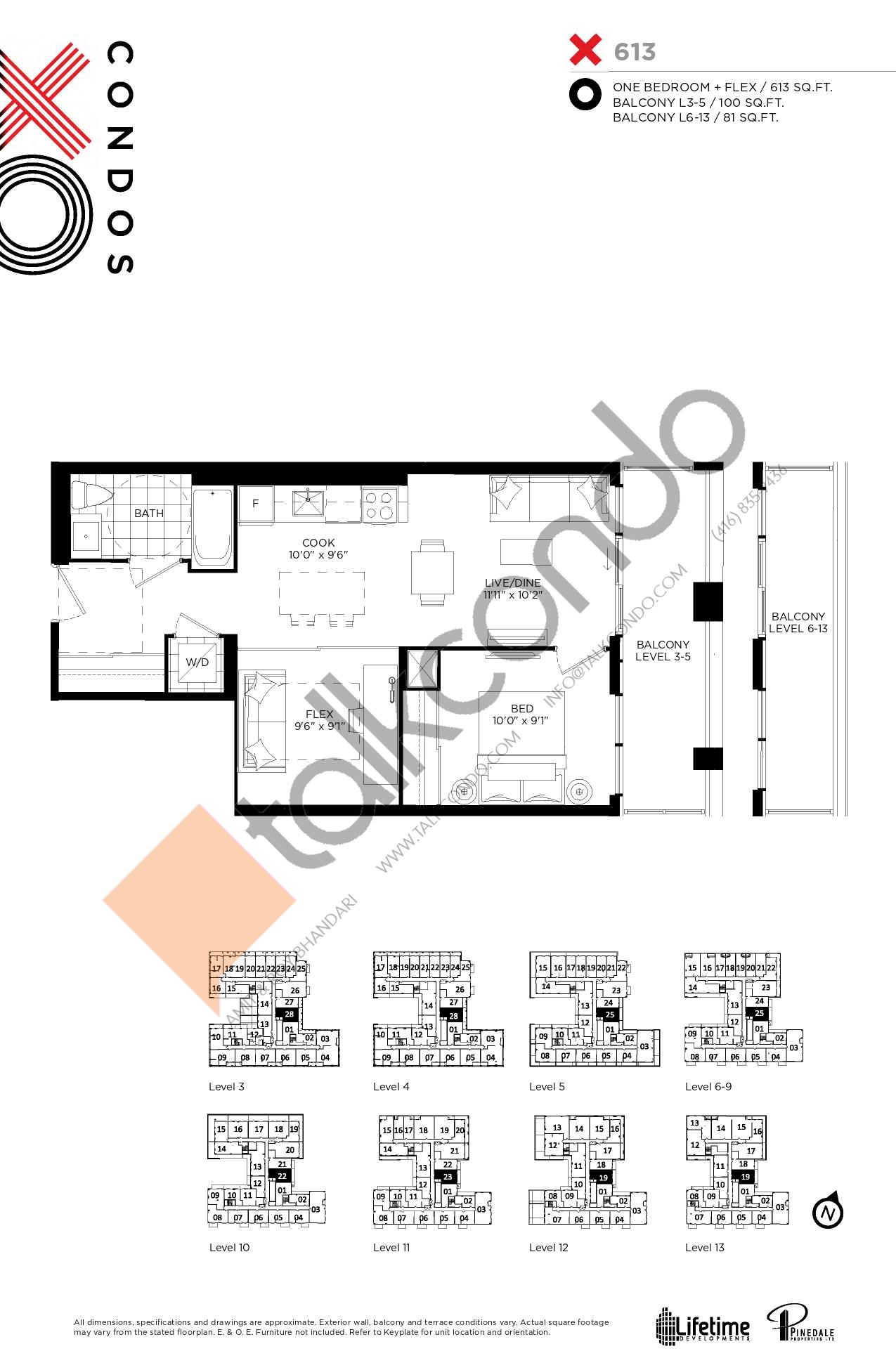 X613 Floor Plan at XO Condos - 613 sq.ft