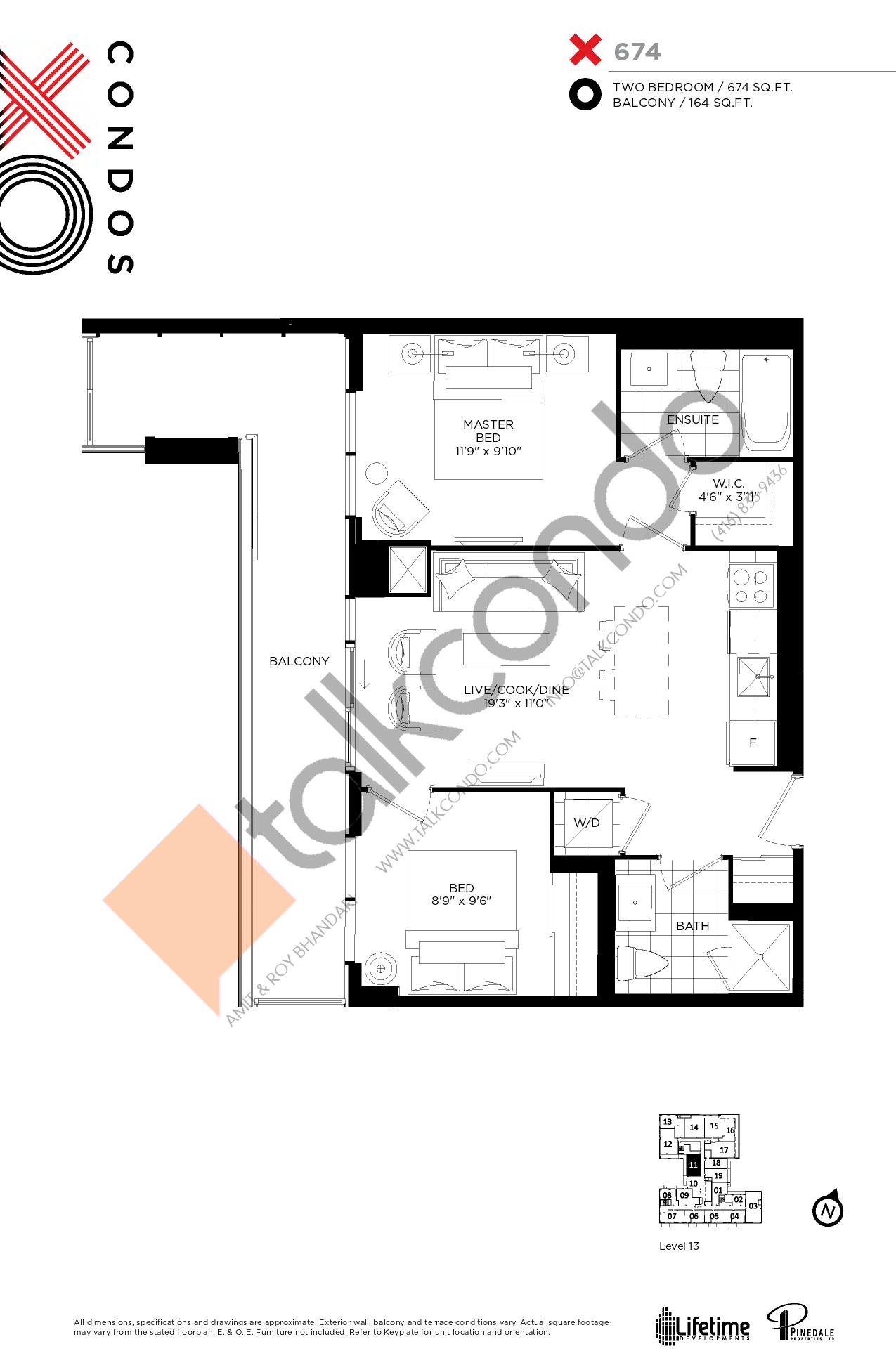X674 Floor Plan at XO Condos - 674 sq.ft