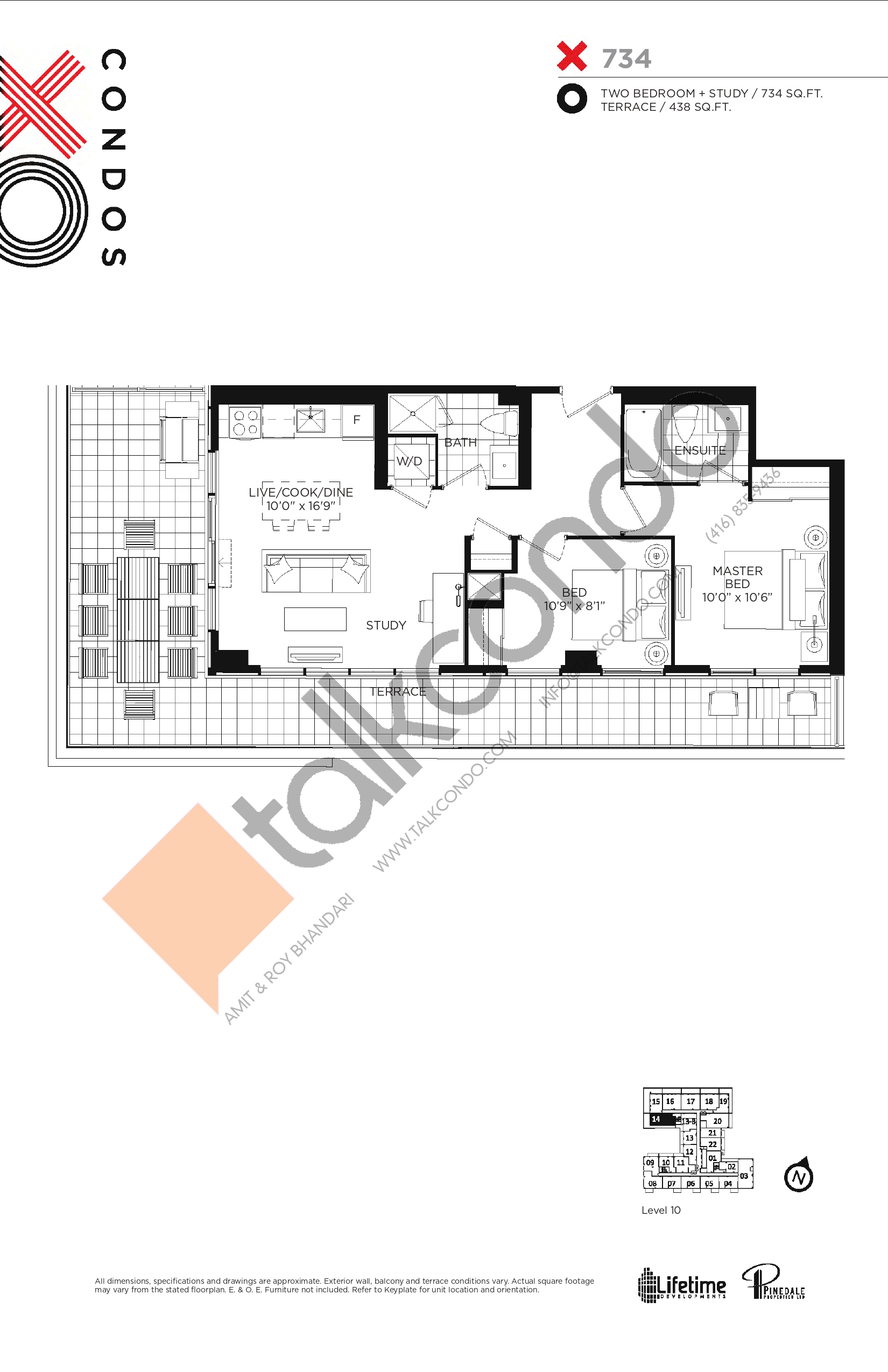 X734 Floor Plan at XO Condos - 734 sq.ft