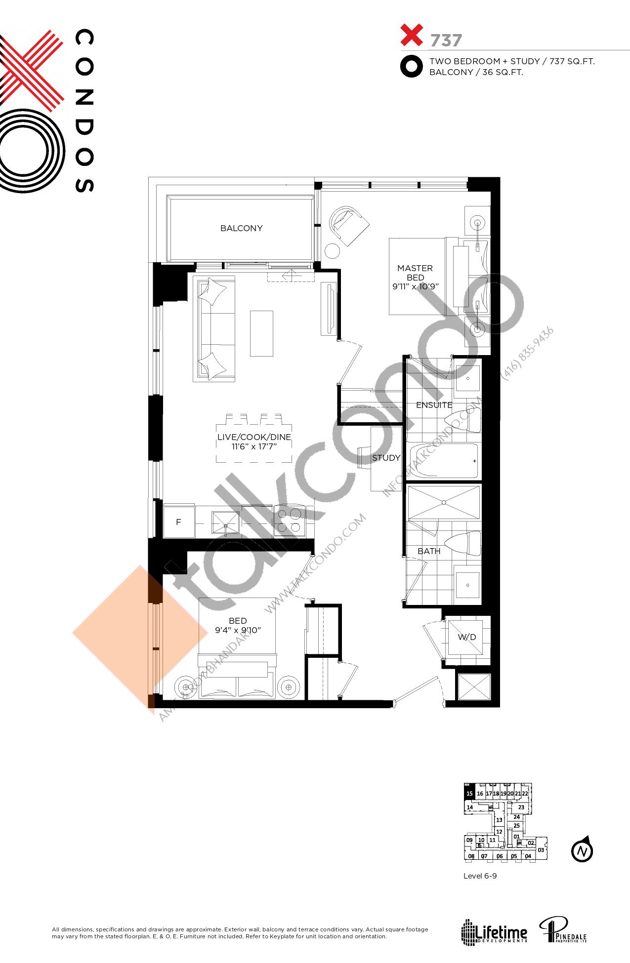 X737 Floor Plan at XO Condos - 737 sq.ft