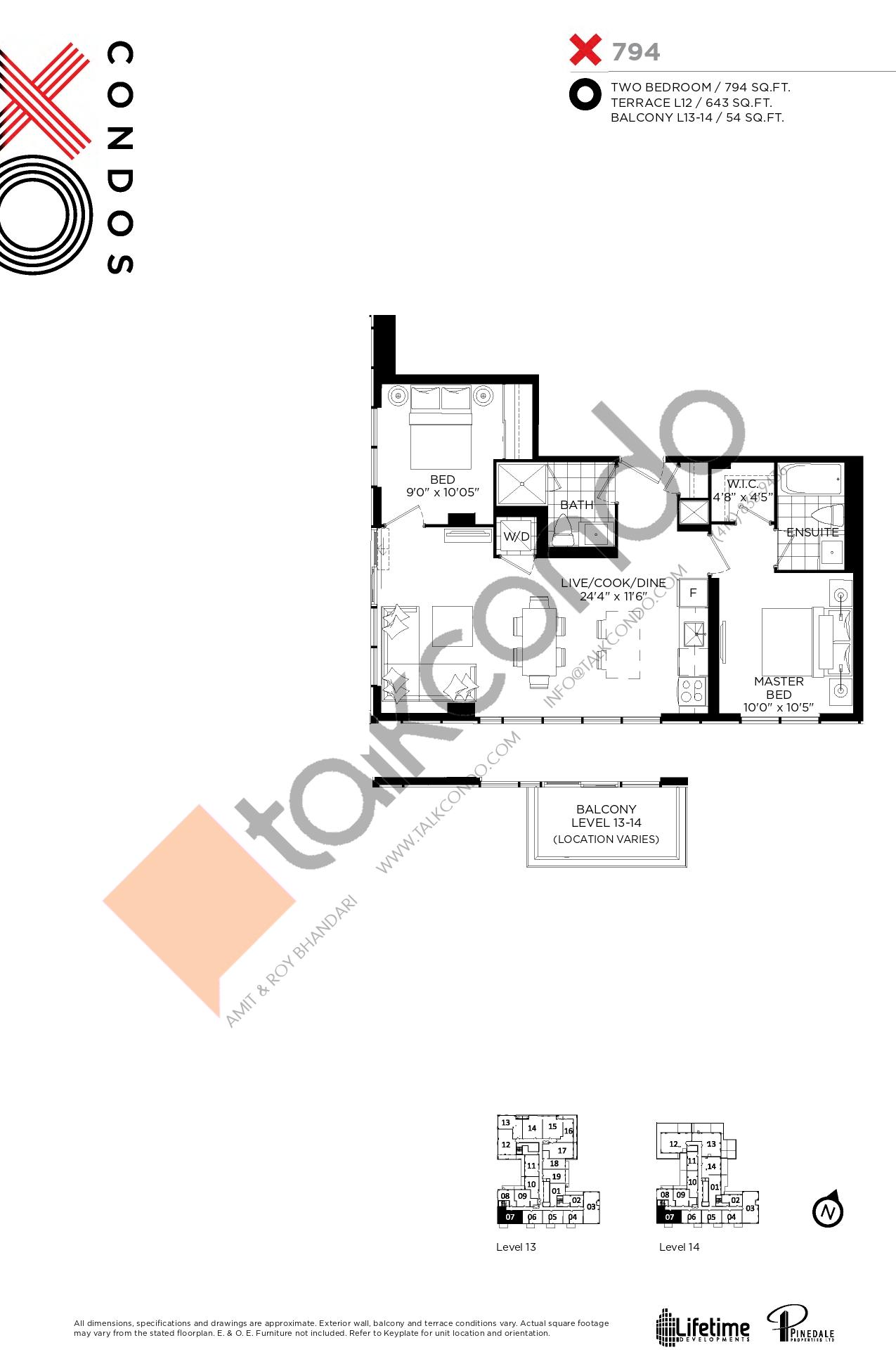 X794 Floor Plan at XO Condos - 794 sq.ft