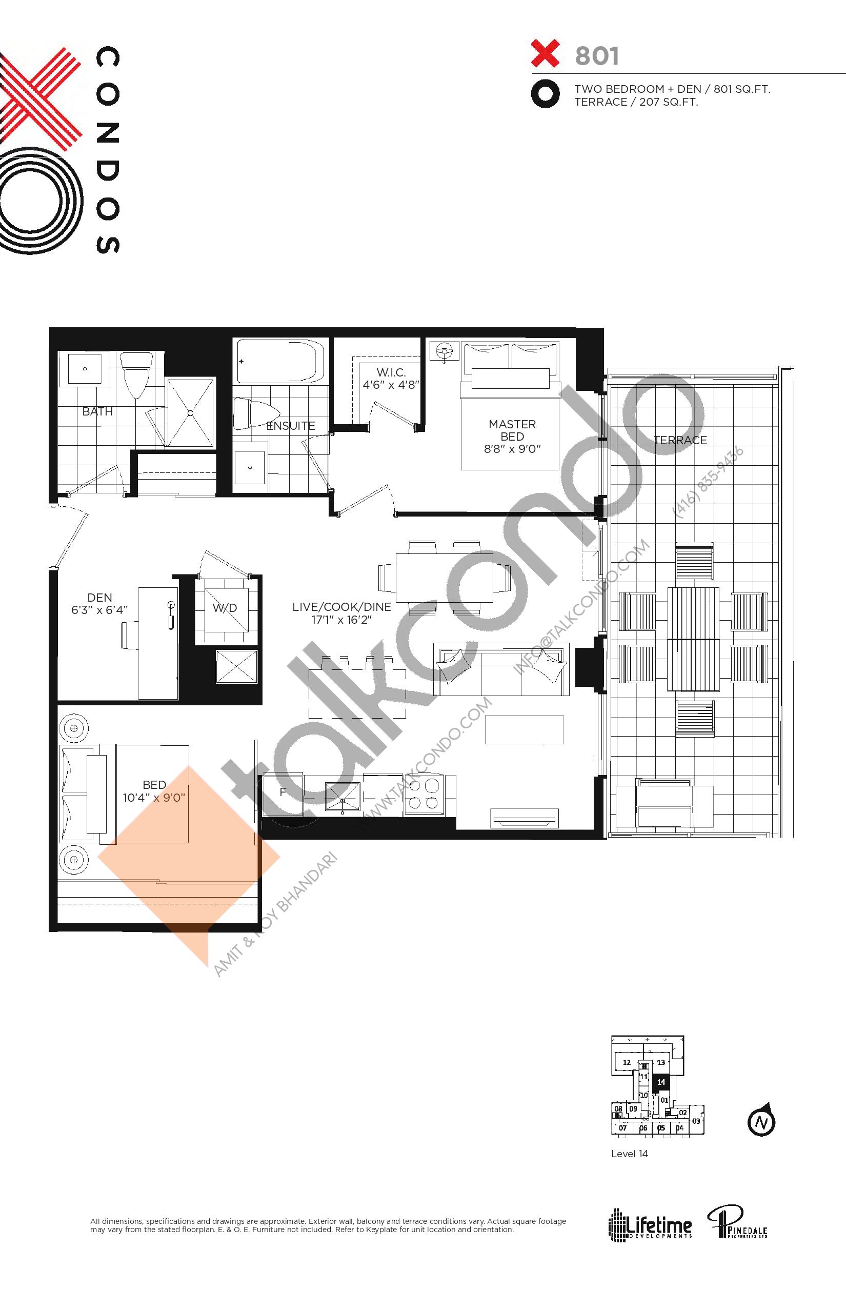 X801 Floor Plan at XO Condos - 801 sq.ft