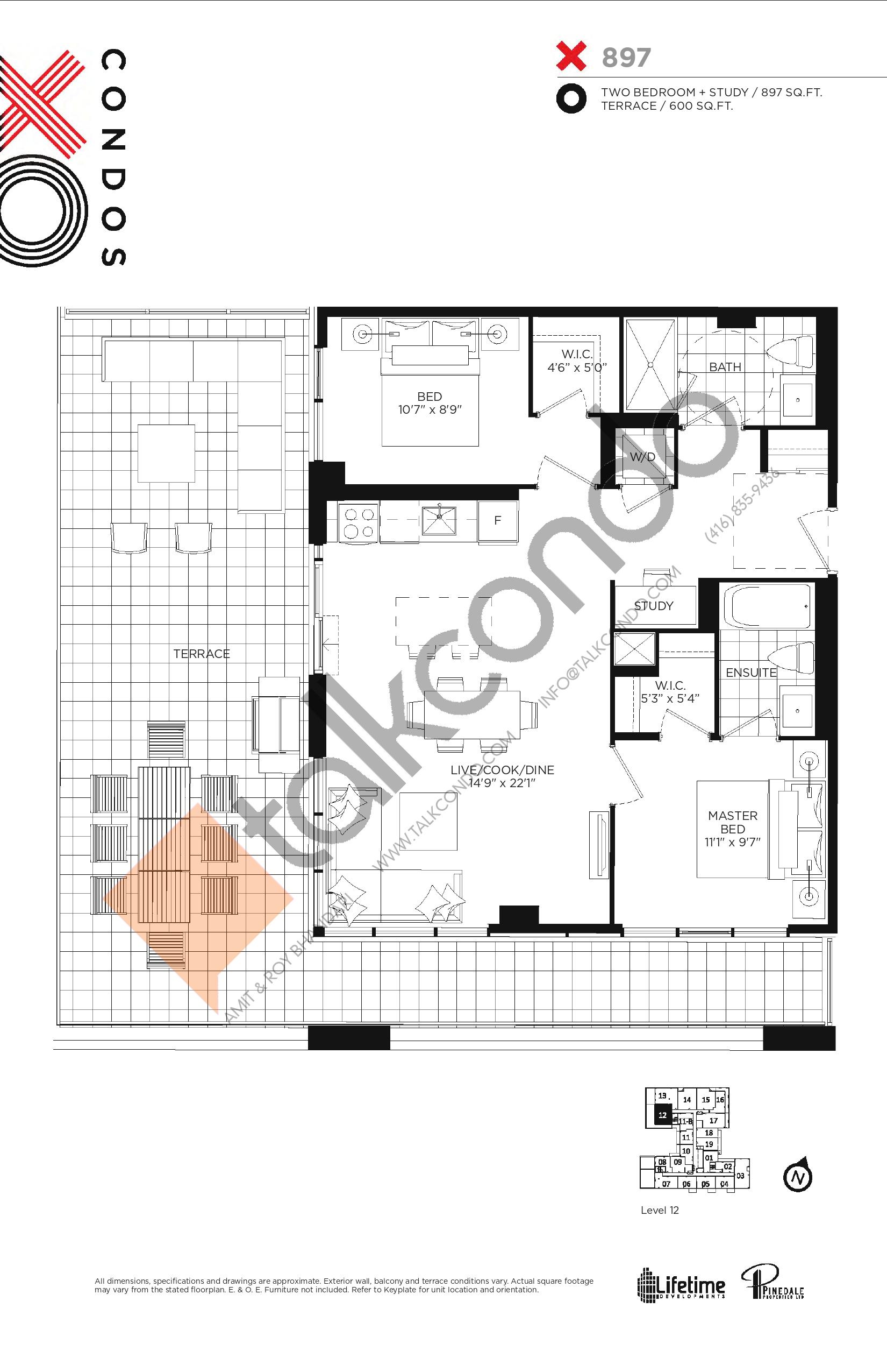 X897 Floor Plan at XO Condos - 897 sq.ft