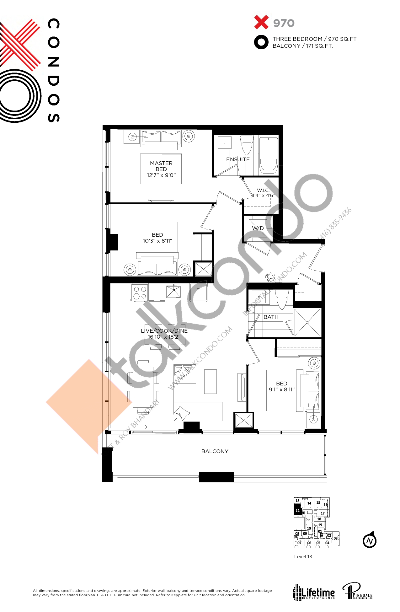 X970 Floor Plan at XO Condos - 970 sq.ft