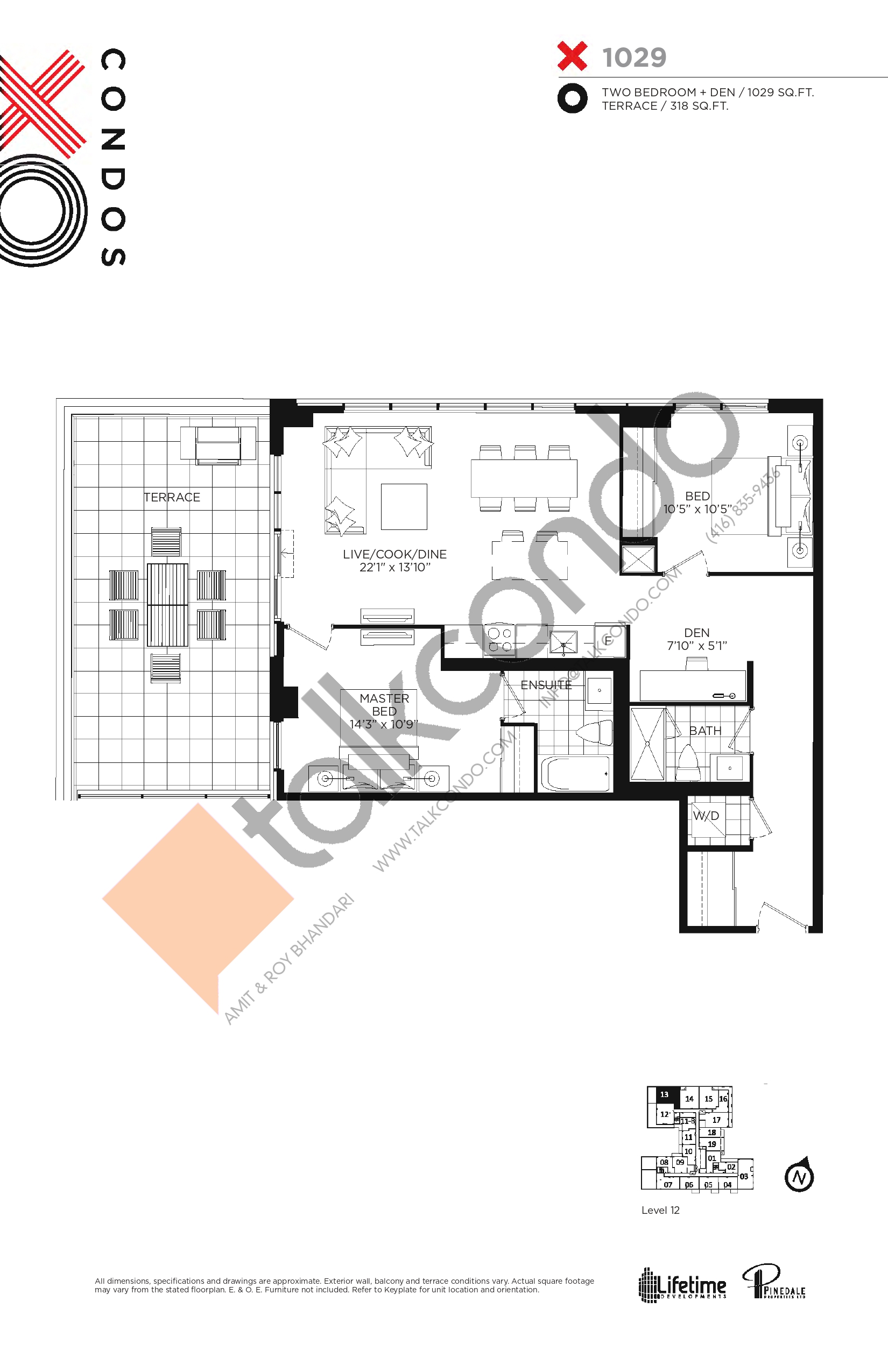 X1029 Floor Plan at XO Condos - 1029 sq.ft