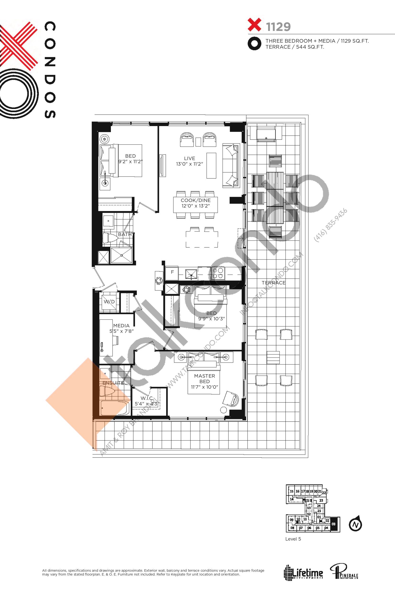 X1129 Floor Plan at XO Condos - 1129 sq.ft