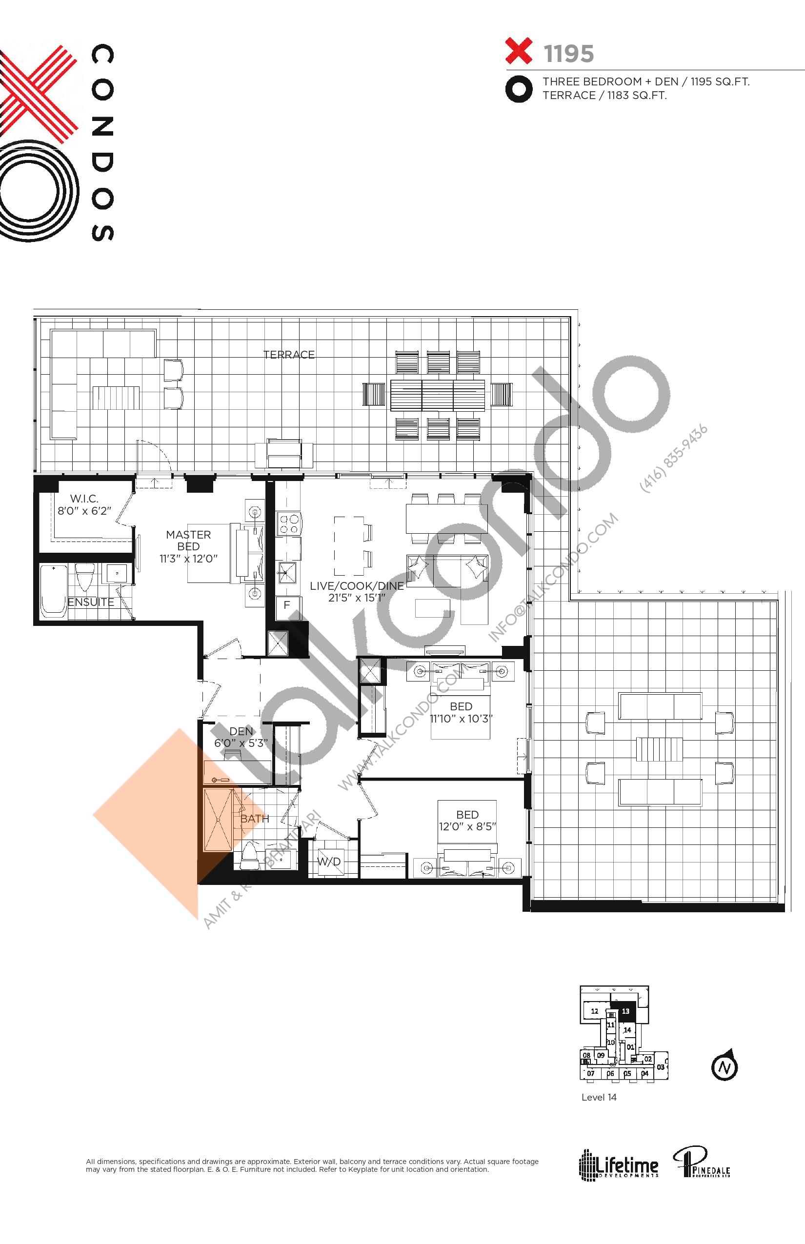 X1195 Floor Plan at XO Condos - 1195 sq.ft