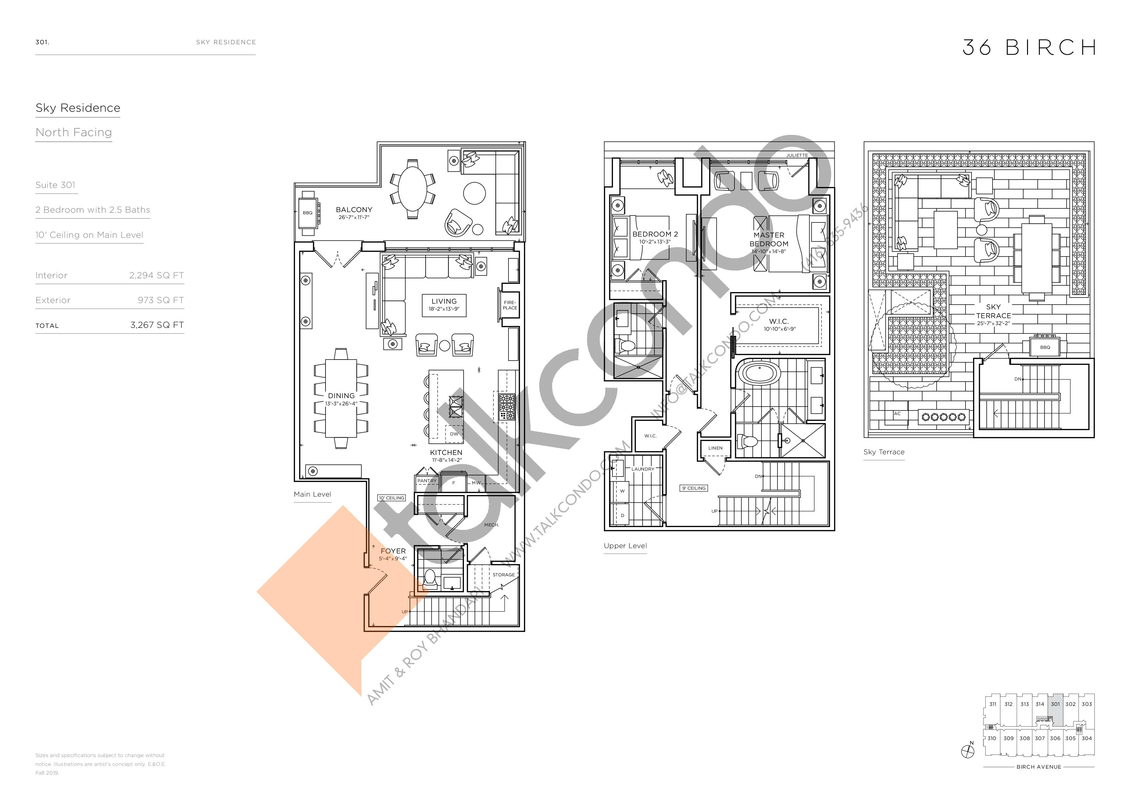 301 - Sky Residence Floor Plan at 36 Birch Condos - 2294 sq.ft