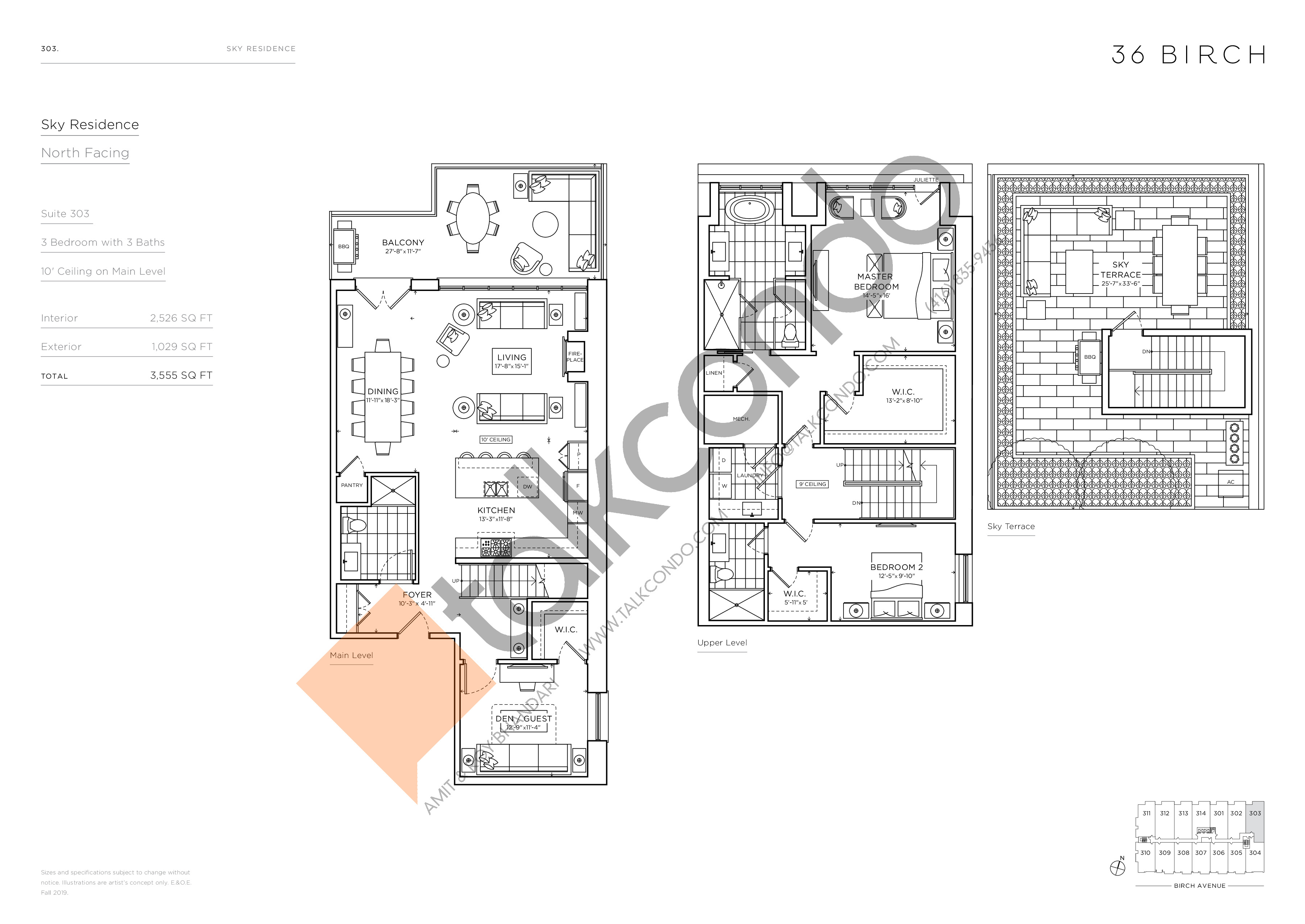 303 - Sky Residence Floor Plan at 36 Birch Condos - 2526 sq.ft
