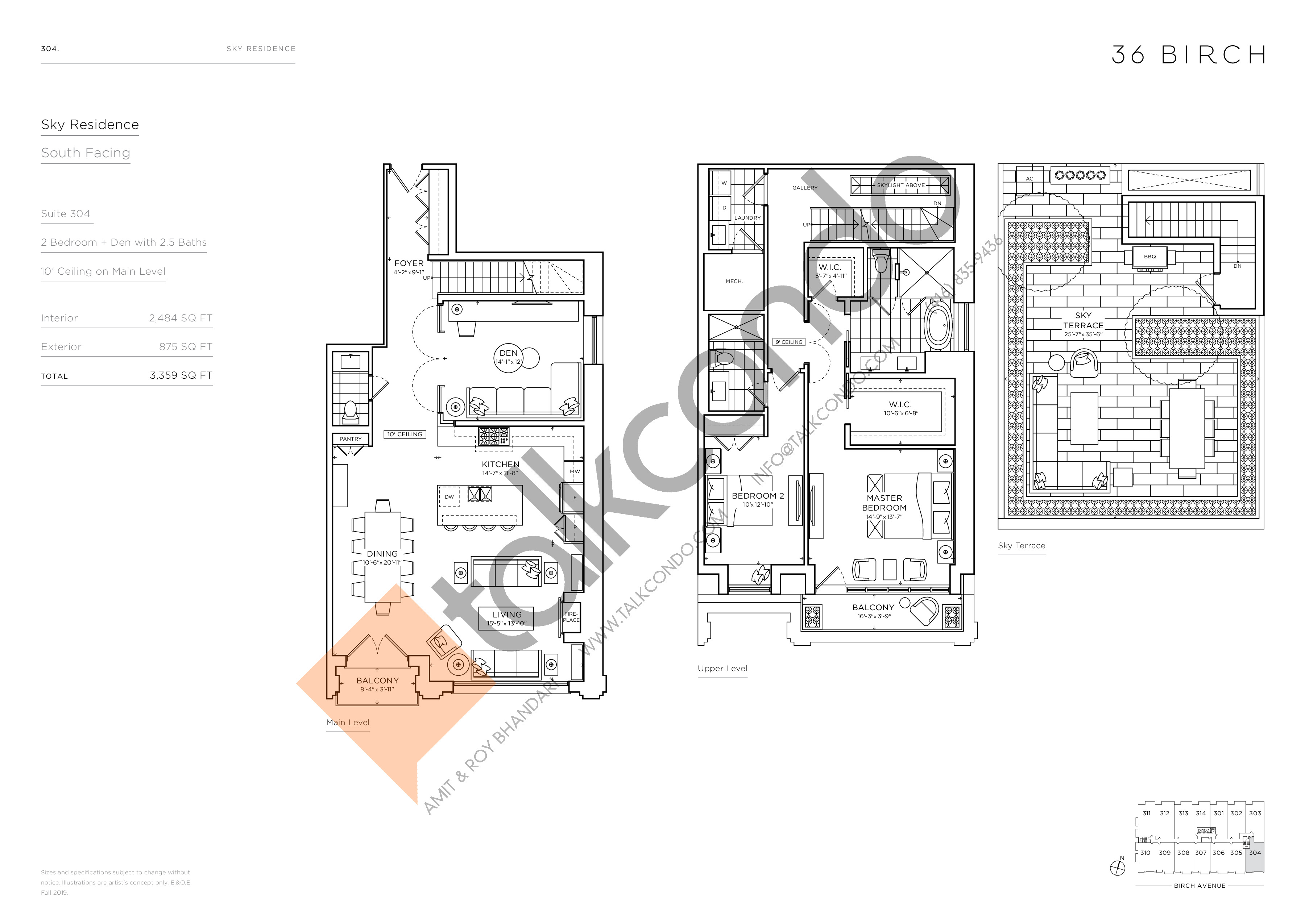 304 - Sky Residence Floor Plan at 36 Birch Condos - 2484 sq.ft