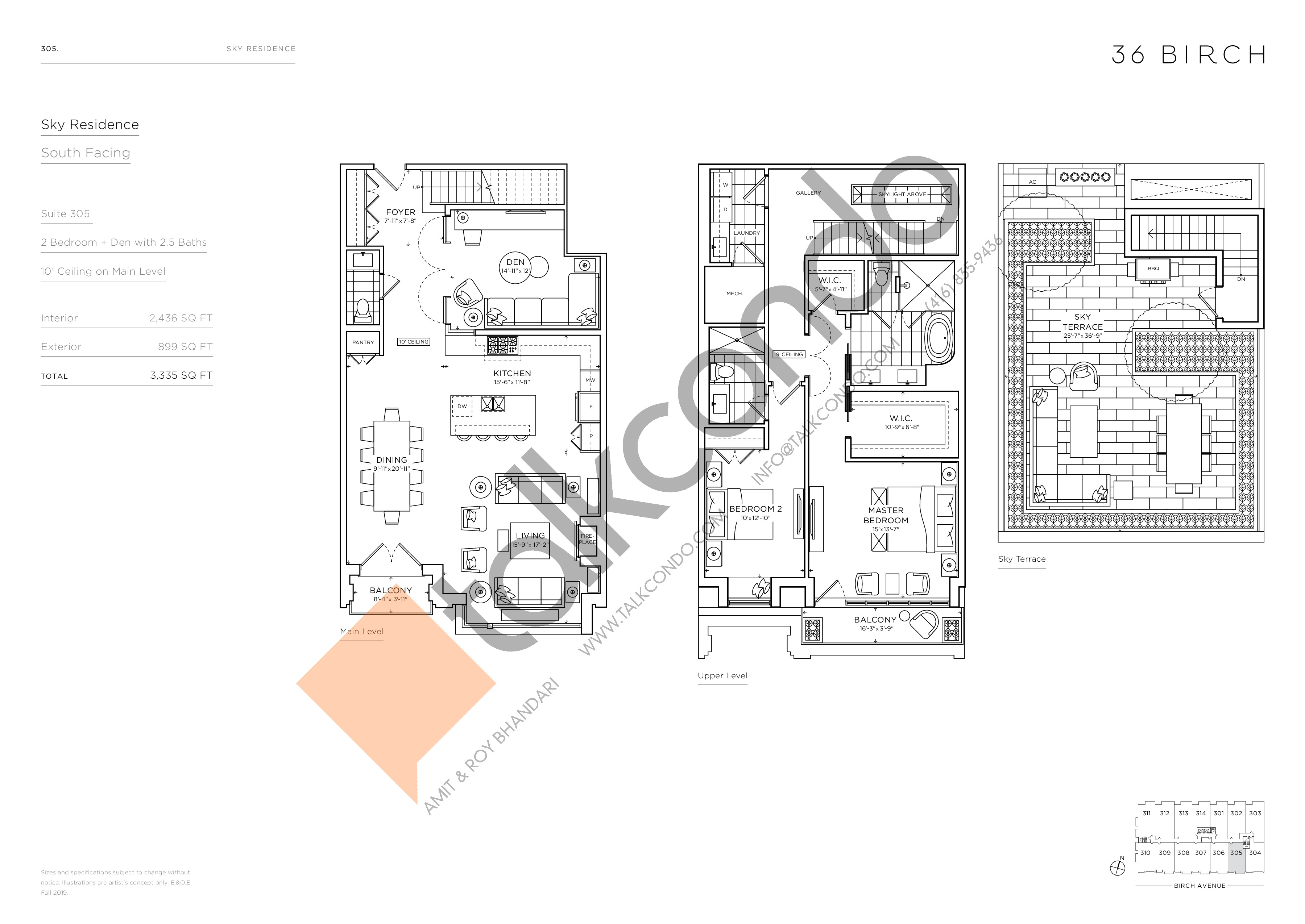 305 - Sky Residence Floor Plan at 36 Birch Condos - 2436 sq.ft