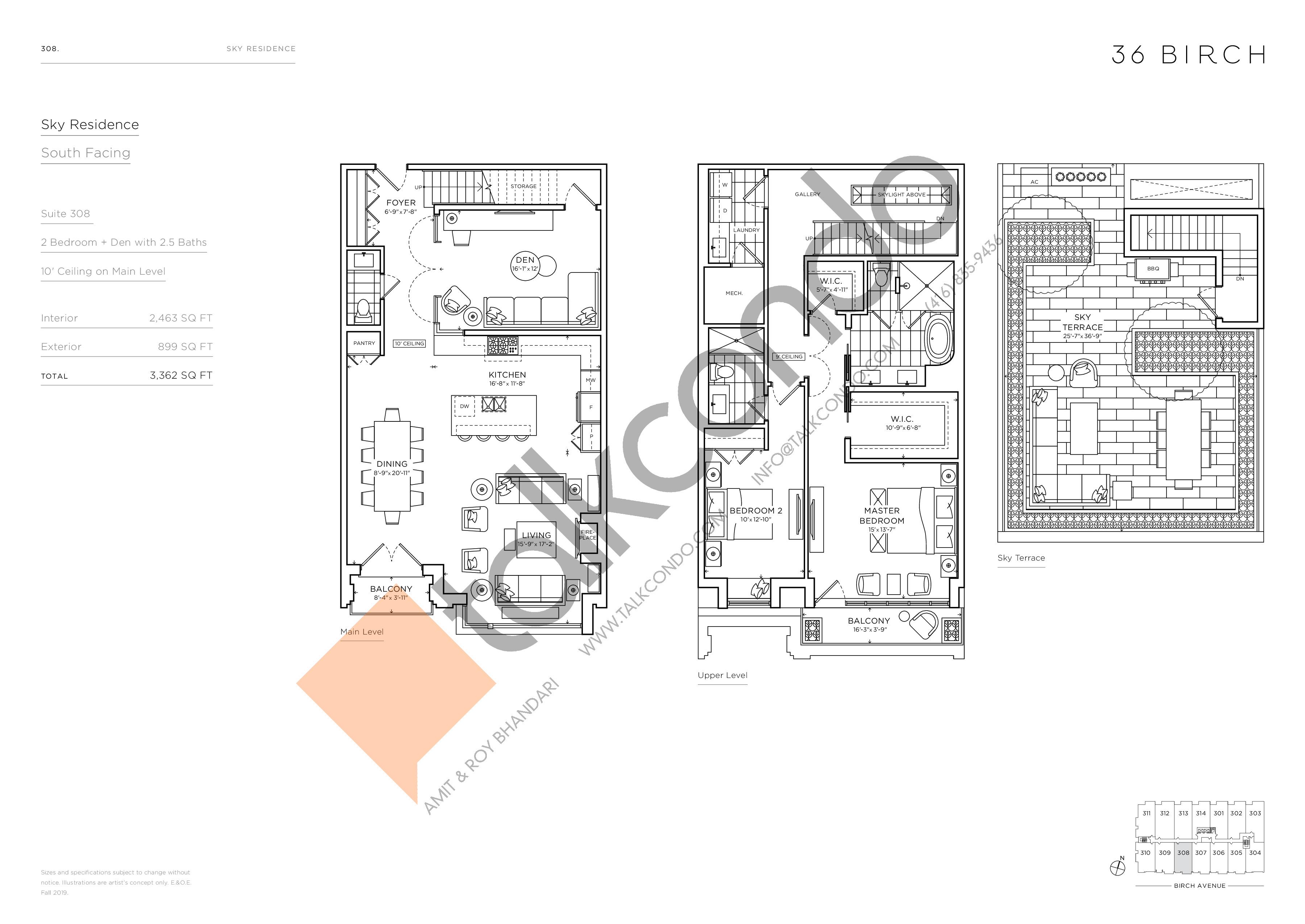 308 - Sky Residence Floor Plan at 36 Birch Condos - 2463 sq.ft