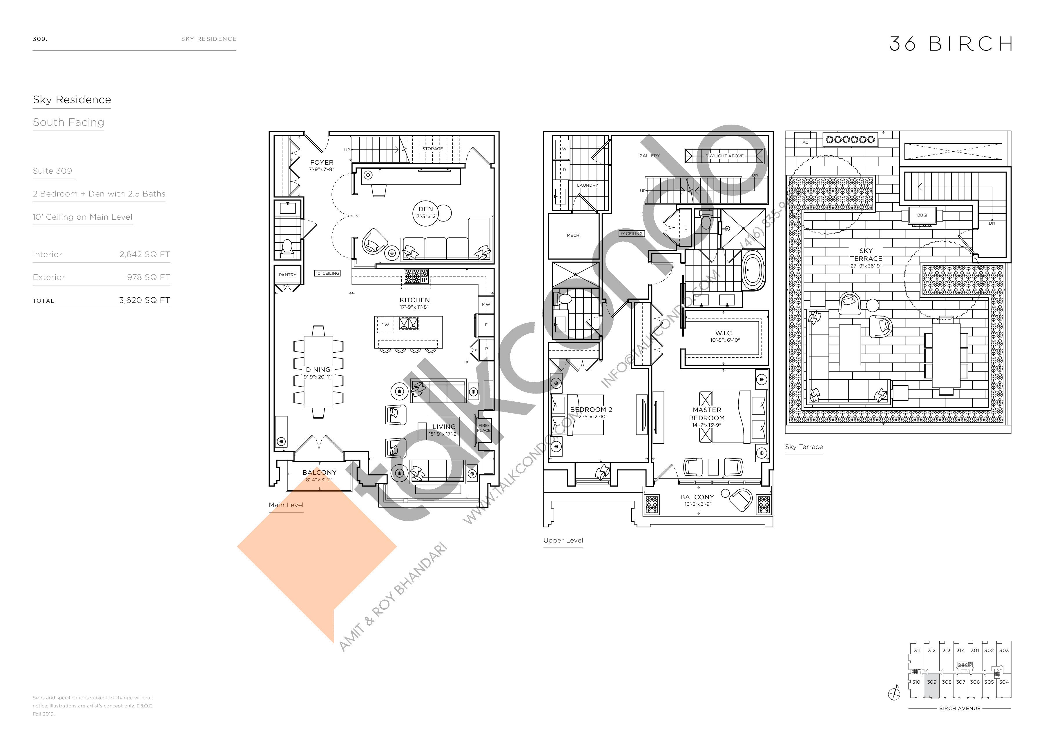 309 - Sky Residence Floor Plan at 36 Birch Condos - 2642 sq.ft