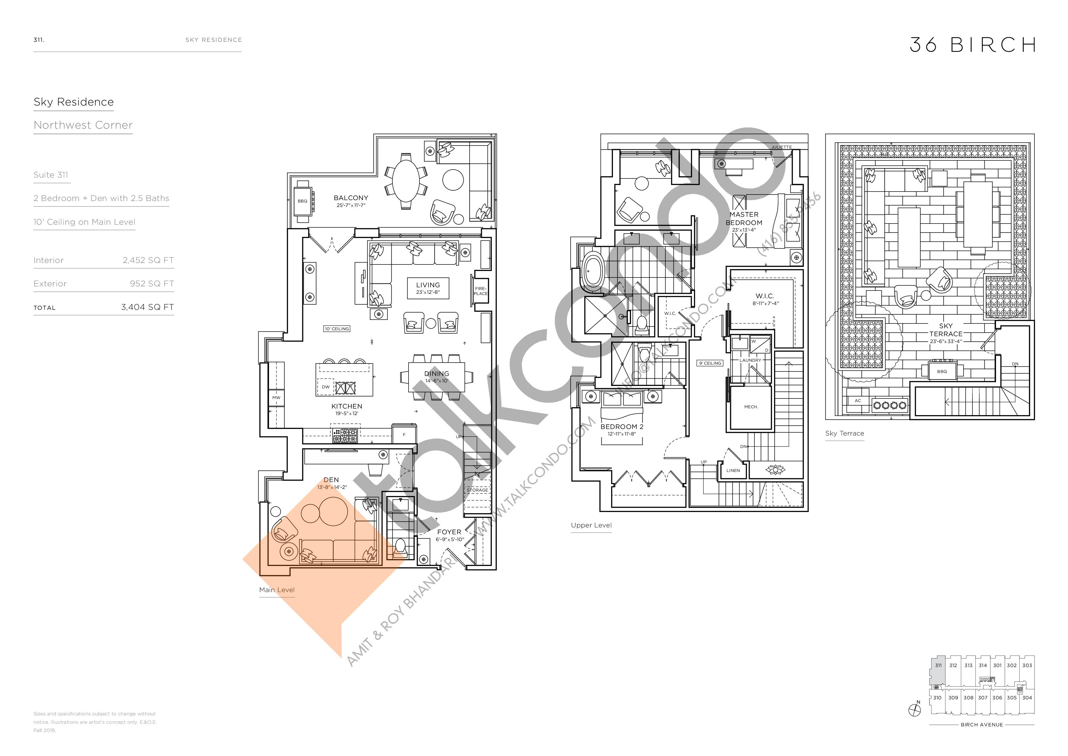 311 - Sky Residence Floor Plan at 36 Birch Condos - 2452 sq.ft