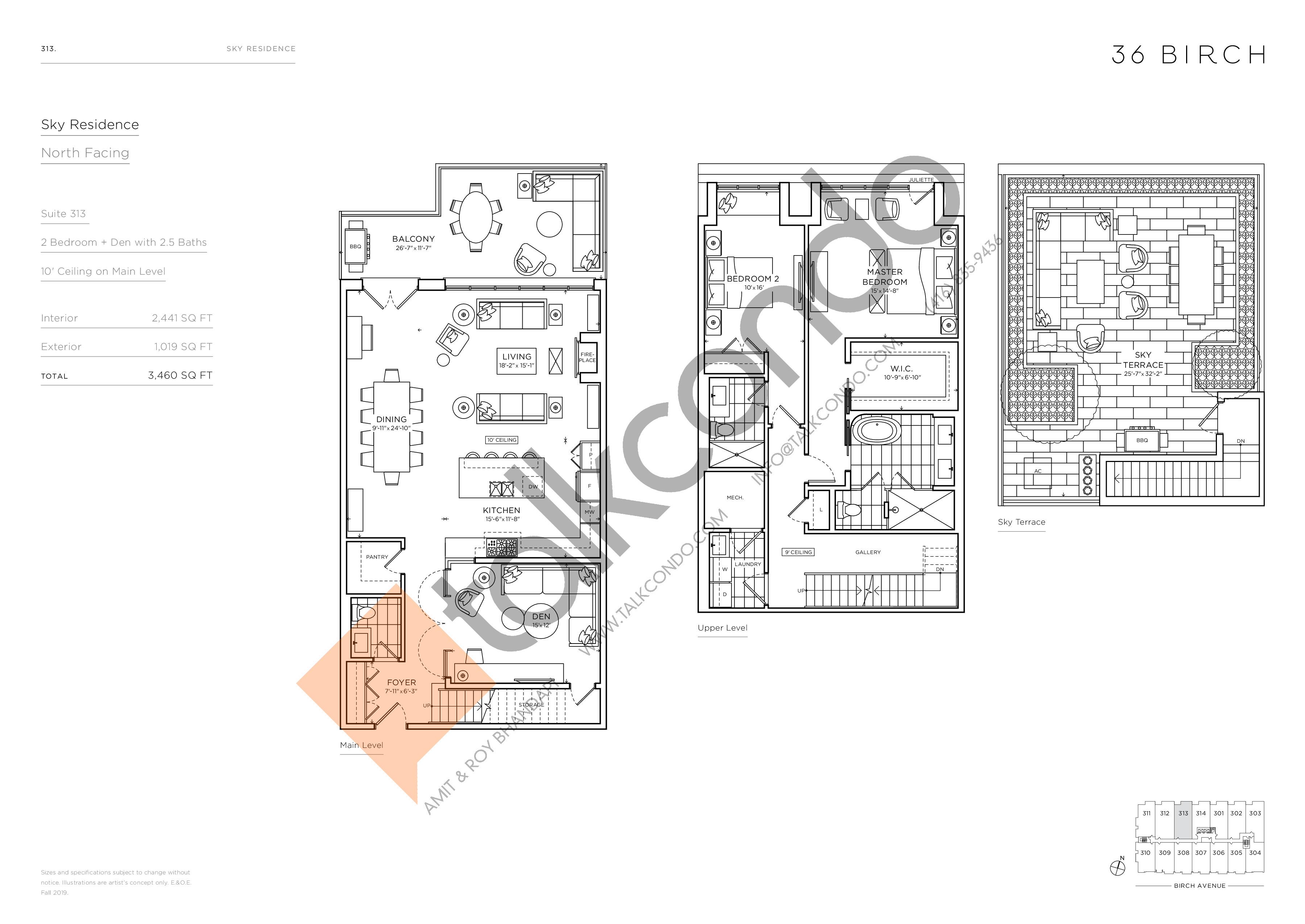 313 - Sky Residence Floor Plan at 36 Birch Condos - 2441 sq.ft