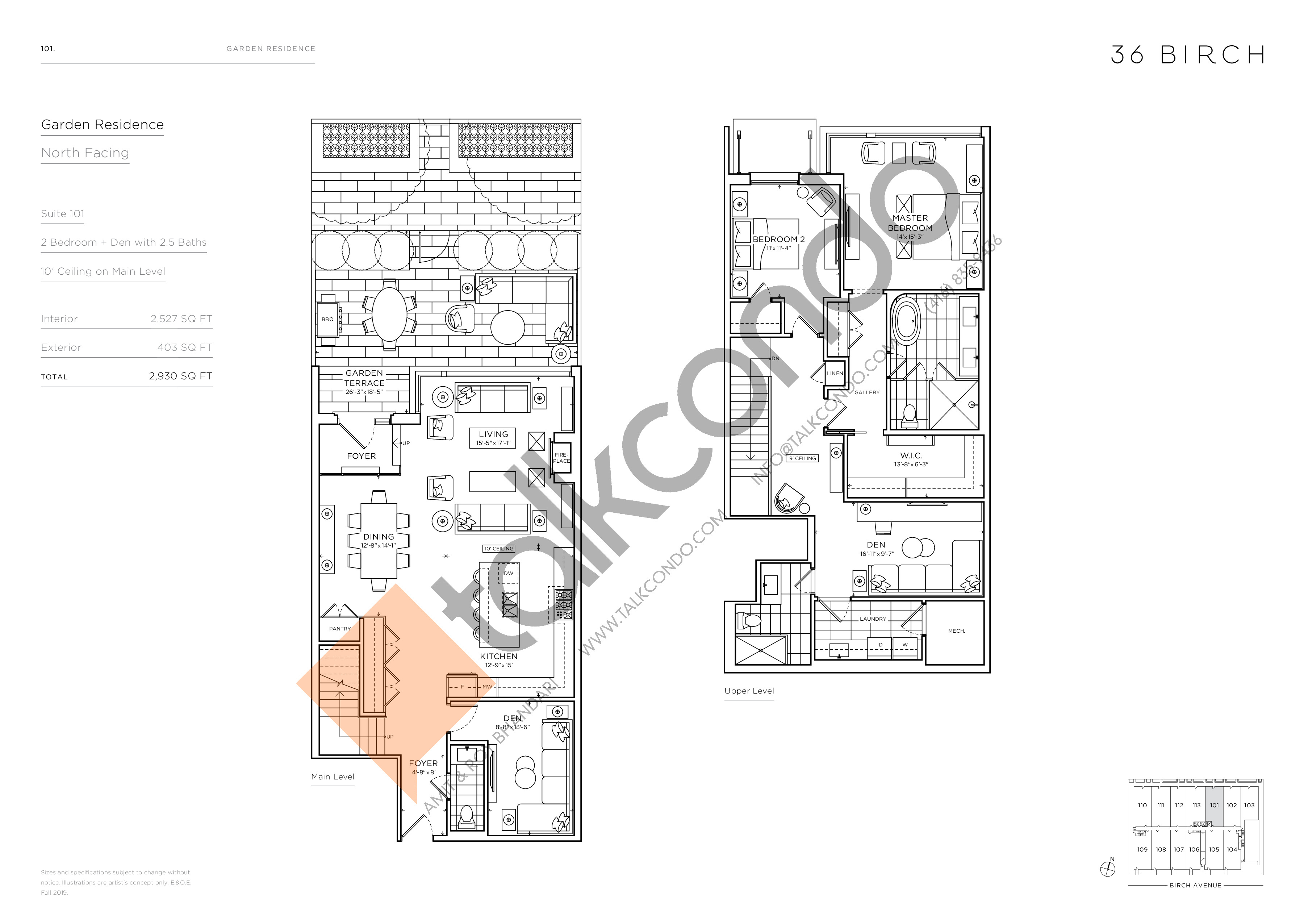 101 - Garden Residences Floor Plan at 36 Birch Condos - 2527 sq.ft