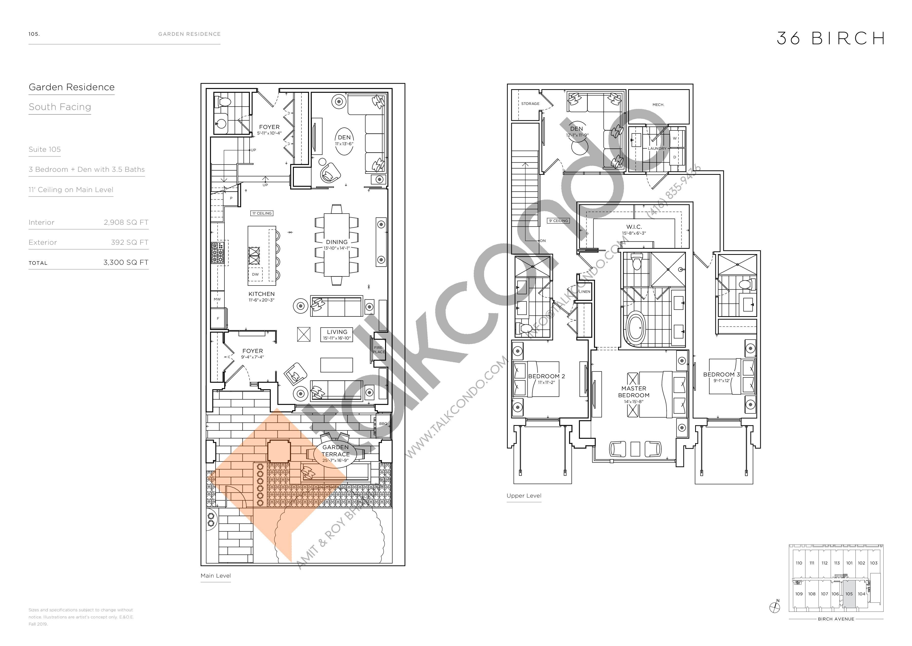 105 - Garden Residences Floor Plan at 36 Birch Condos - 2908 sq.ft