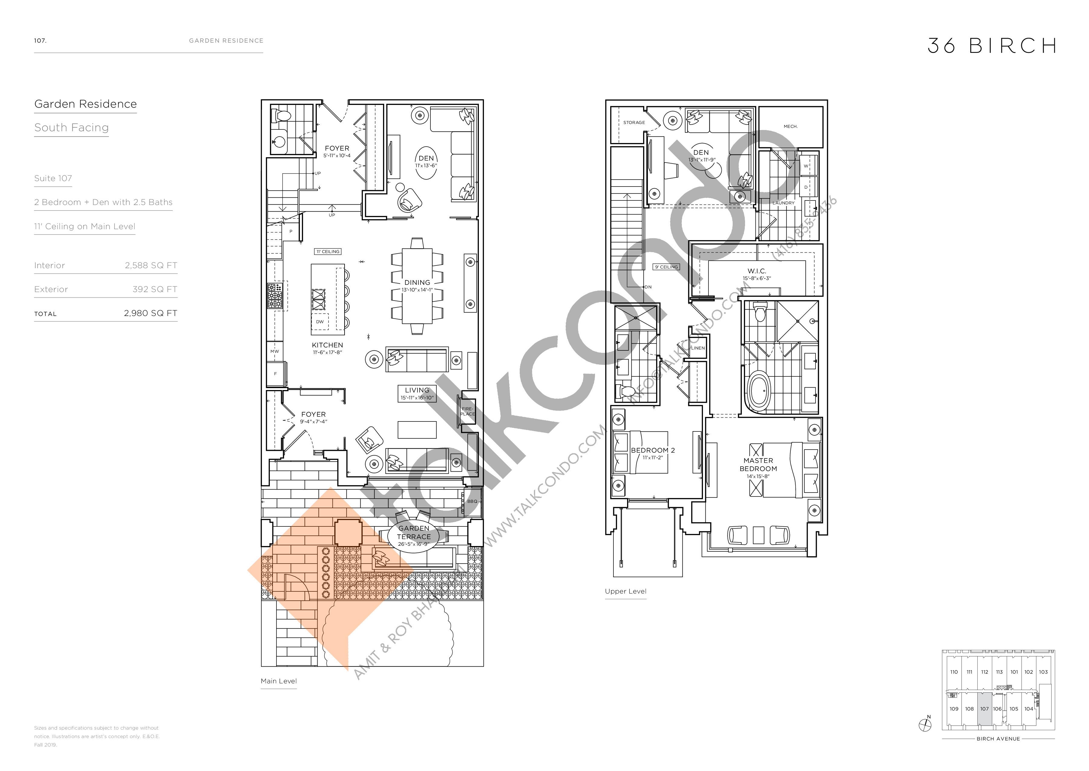 107 - Garden Residences Floor Plan at 36 Birch Condos - 2588 sq.ft