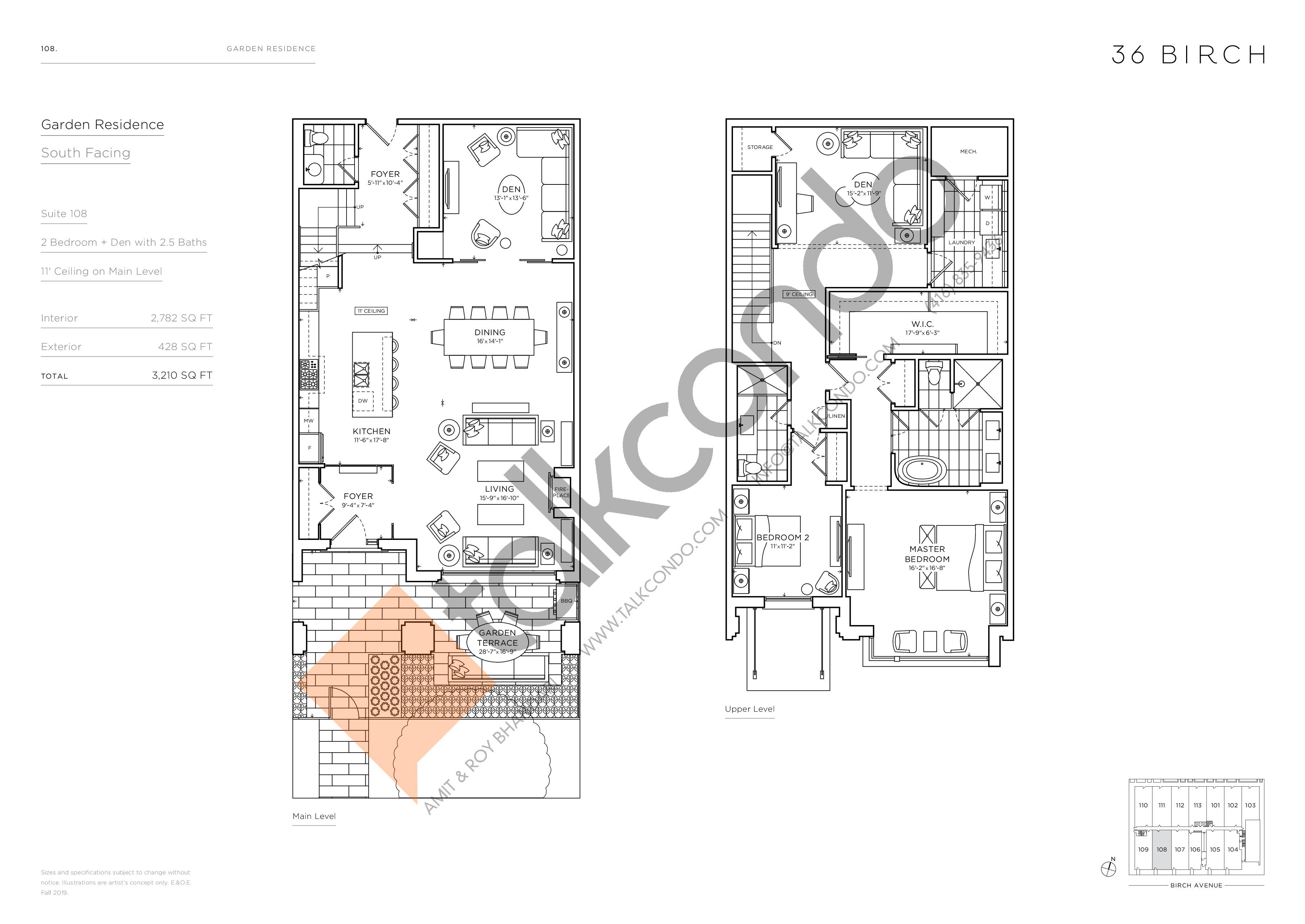 108 - Garden Residences Floor Plan at 36 Birch Condos - 2782 sq.ft