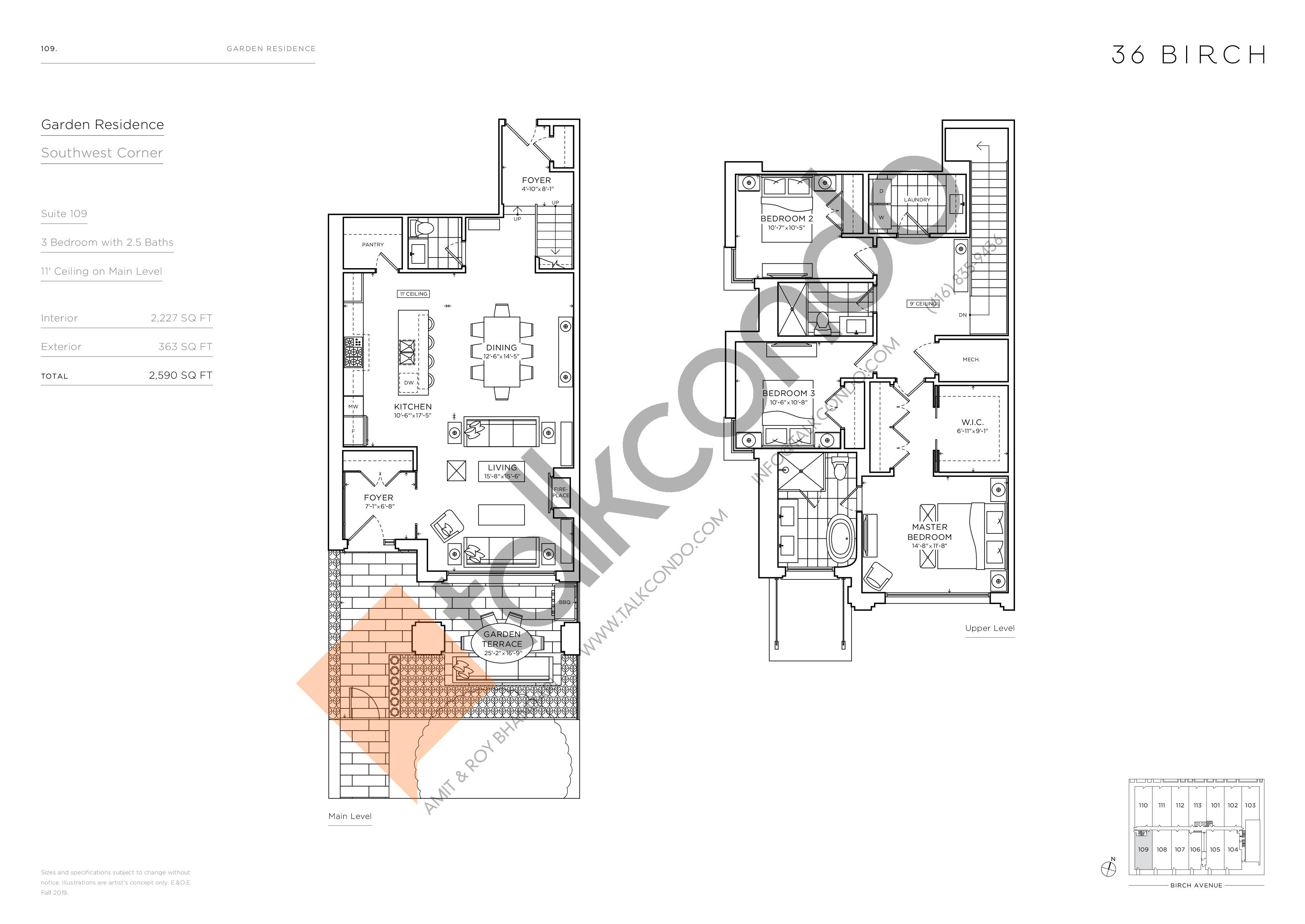 109 - Garden Residences Floor Plan at 36 Birch Condos - 2227 sq.ft