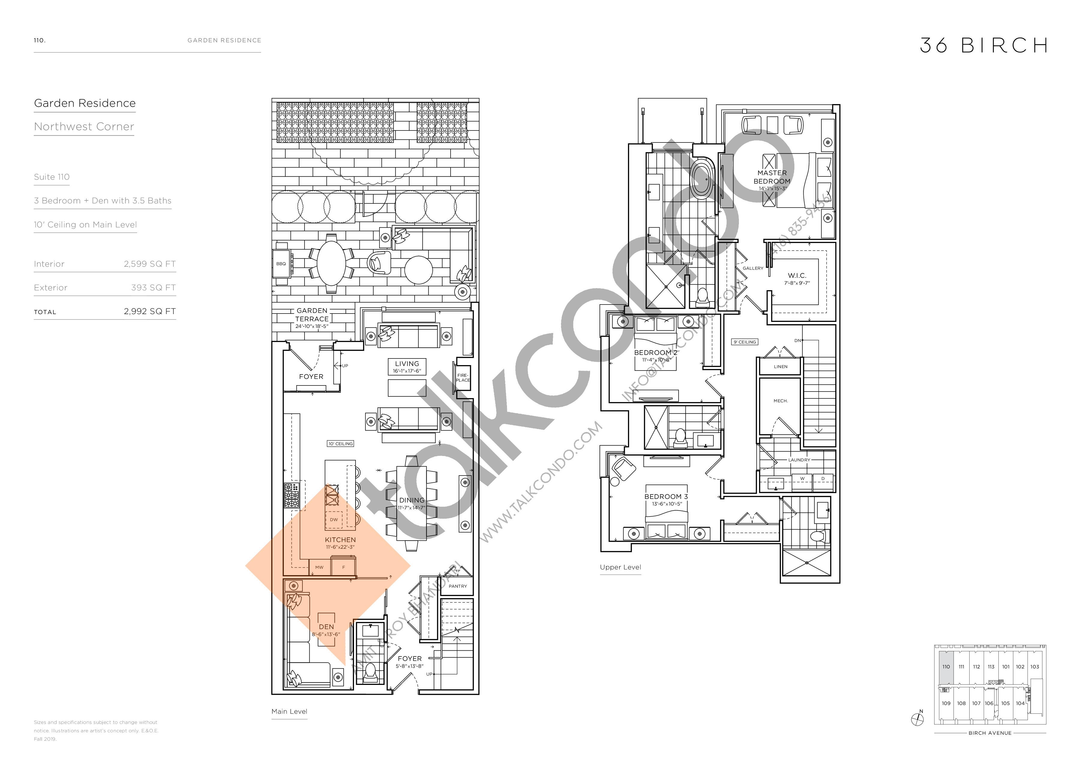 110 - Garden Residences Floor Plan at 36 Birch Condos - 2599 sq.ft