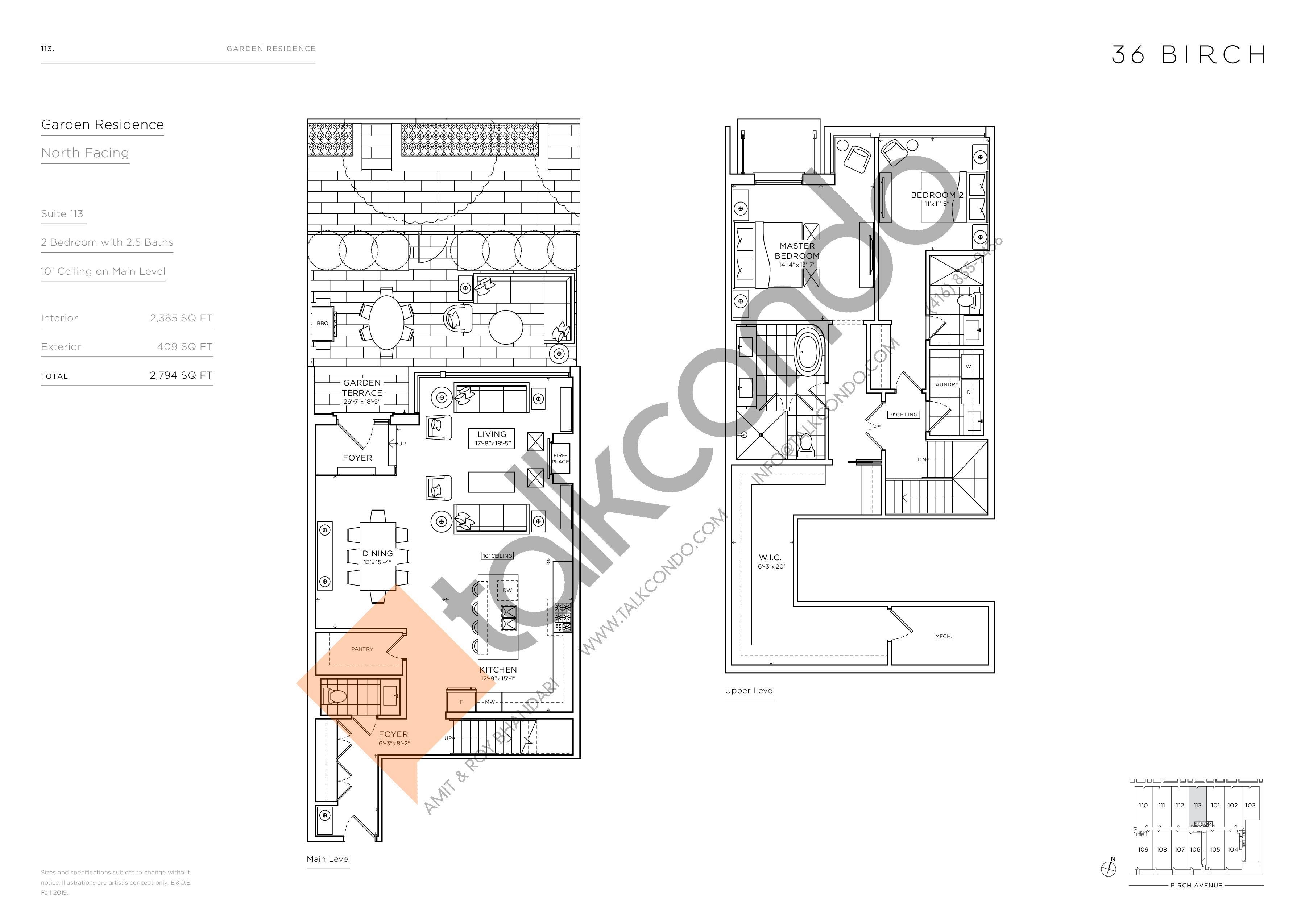 113 - Garden Residences Floor Plan at 36 Birch Condos - 2385 sq.ft
