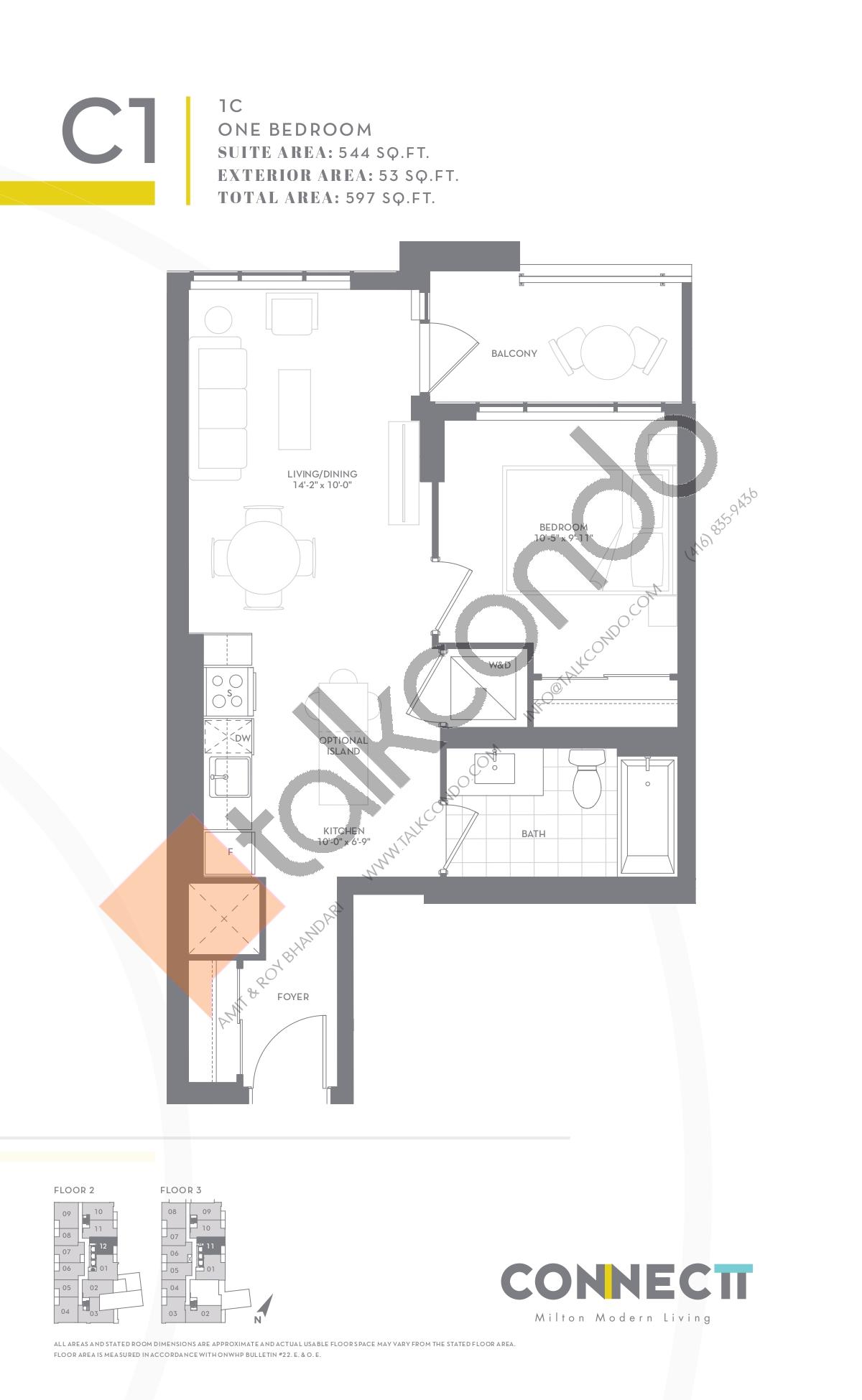 1C Floor Plan at Connectt Urban Community Condos - 544 sq.ft