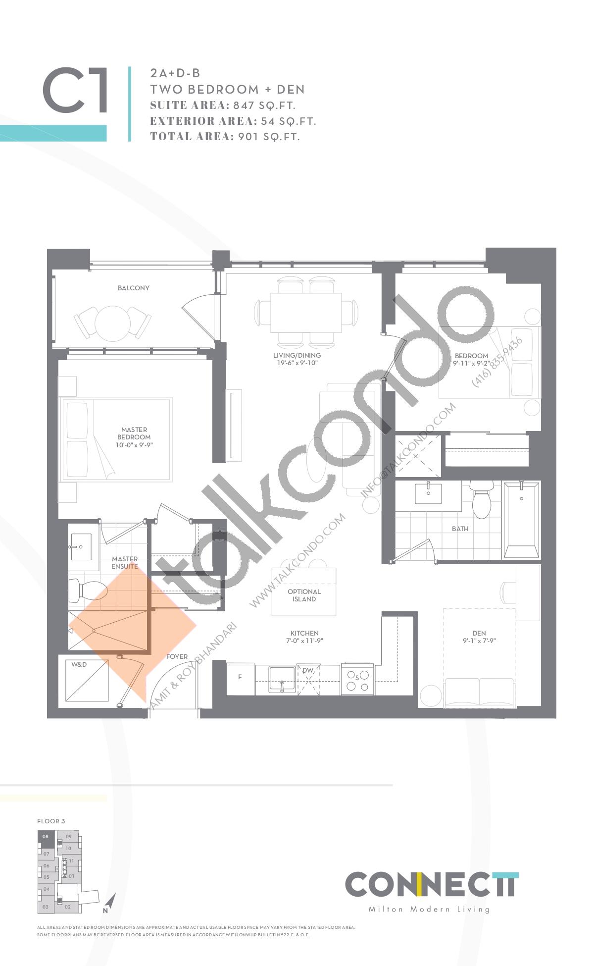 2A+D-B Floor Plan at Connectt Urban Community Condos - 847 sq.ft