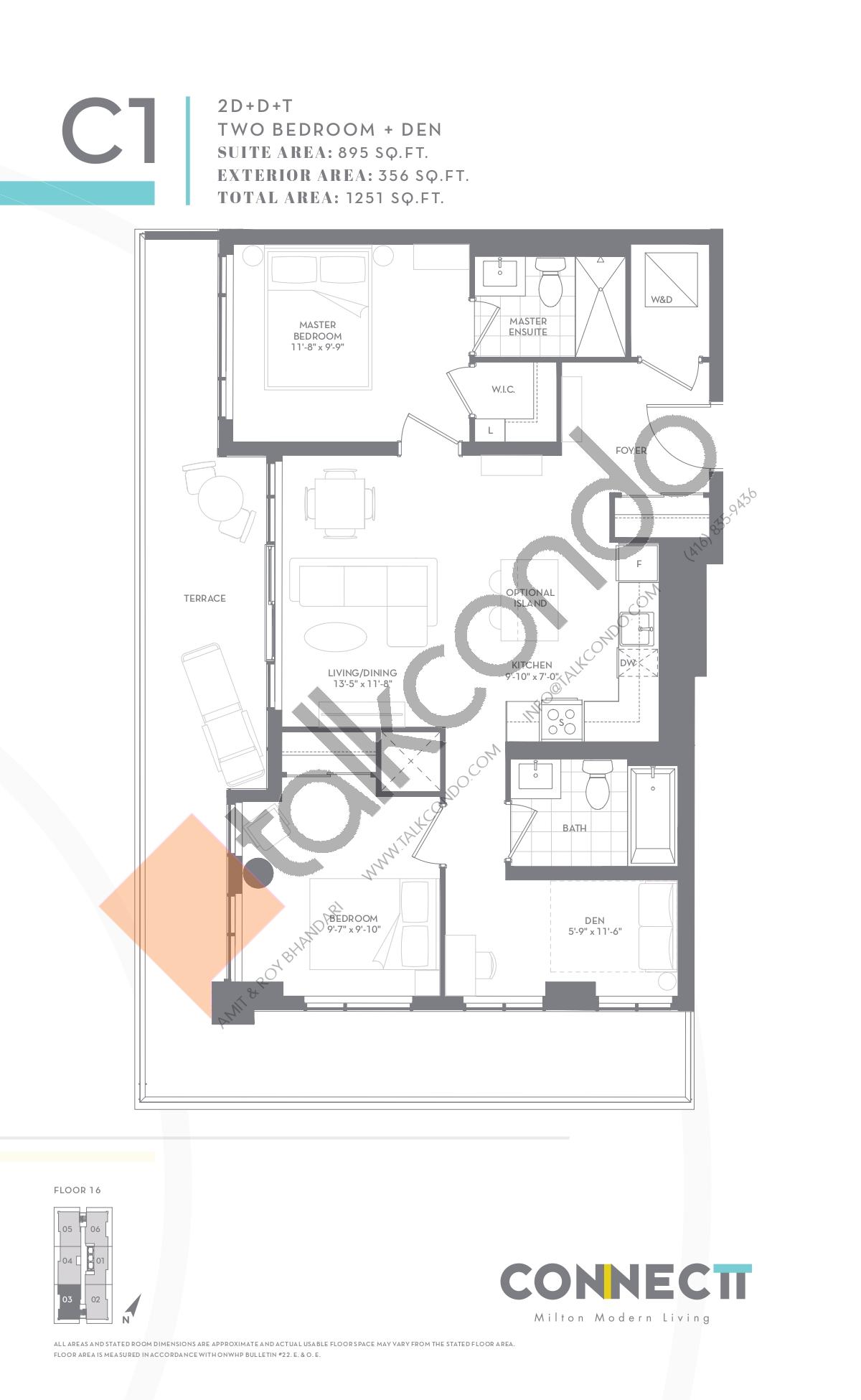 2D+D+T Floor Plan at Connectt Urban Community Condos - 895 sq.ft