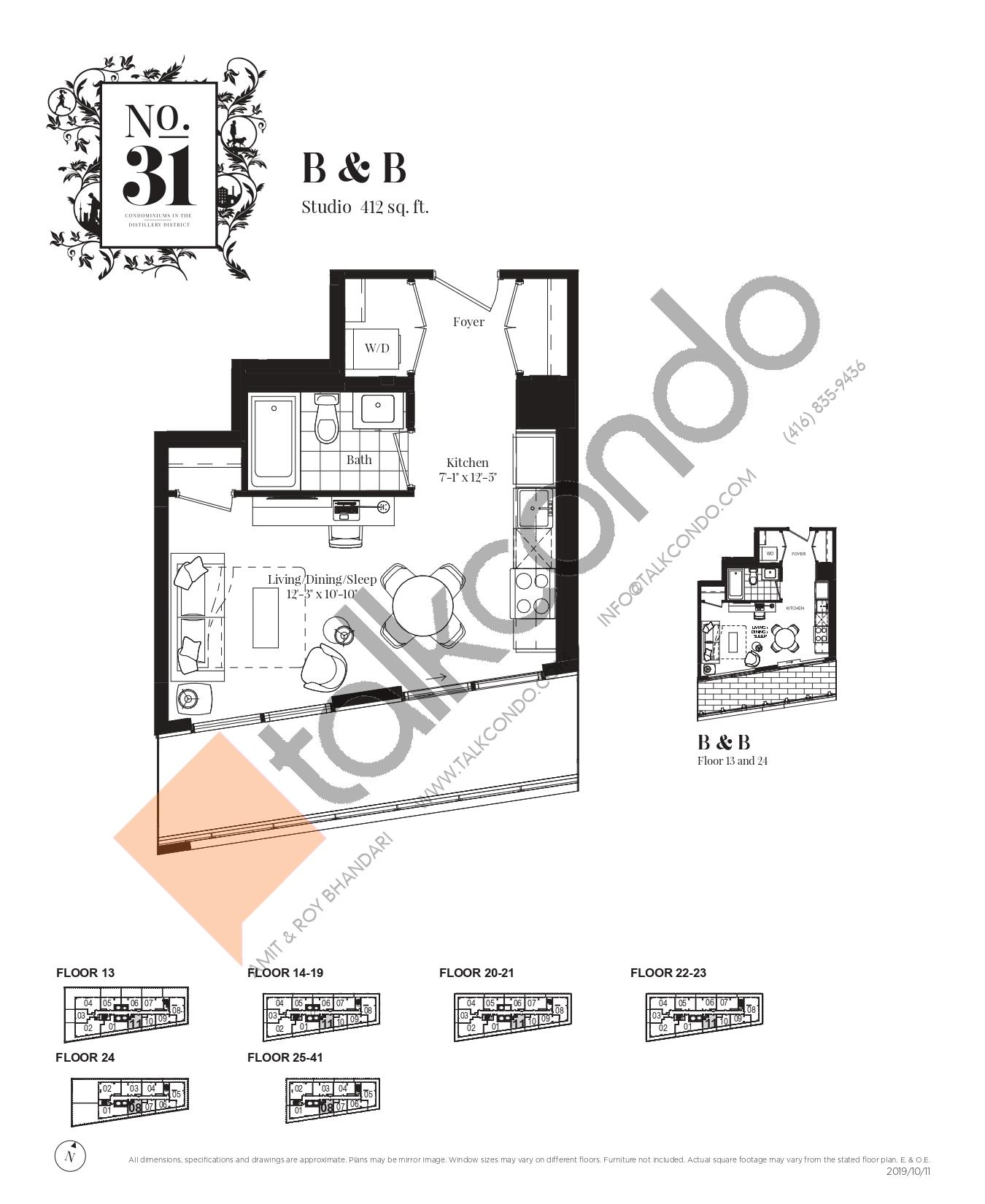 B & B Floor Plan at No. 31 Condos - 412 sq.ft