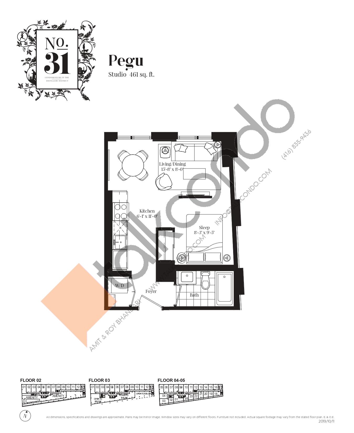 Pegu Floor Plan at No. 31 Condos - 461 sq.ft