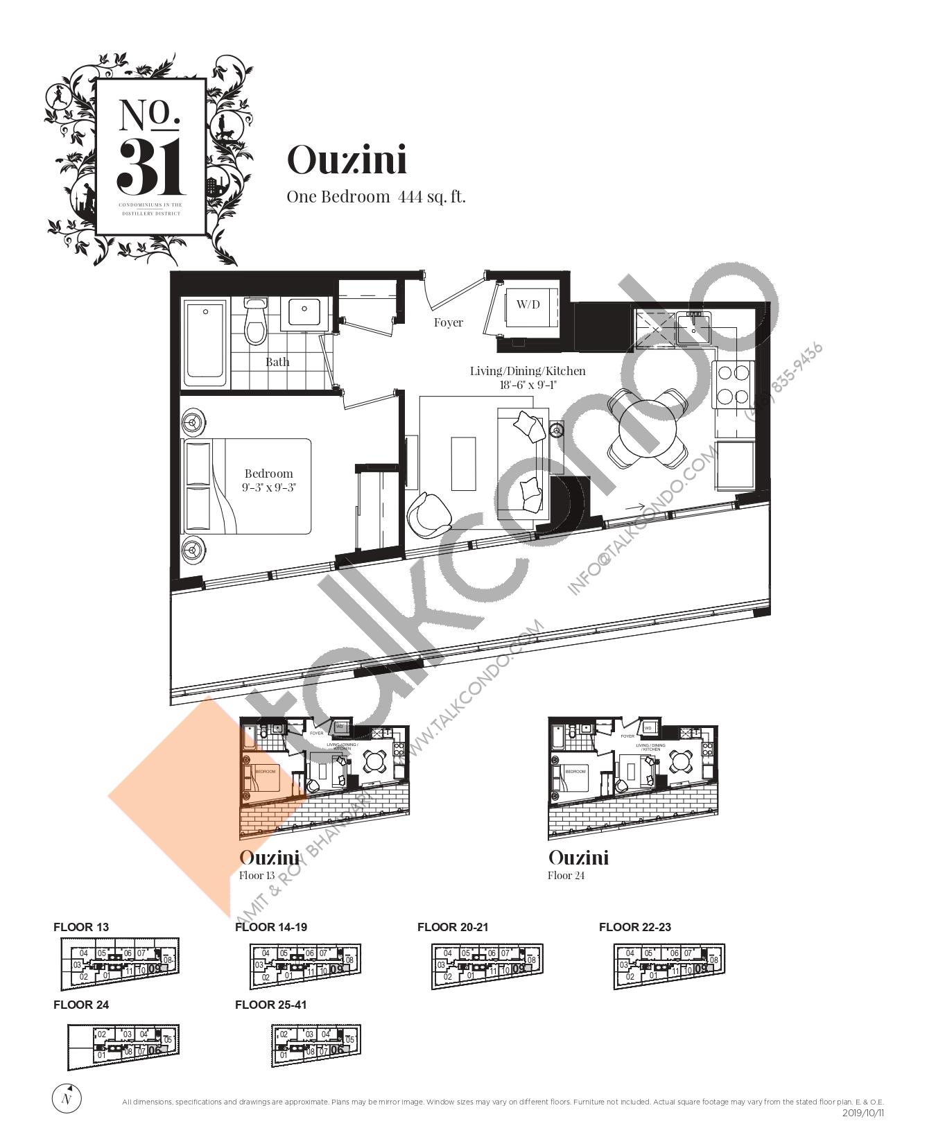 Ouzini Floor Plan at No. 31 Condos - 444 sq.ft
