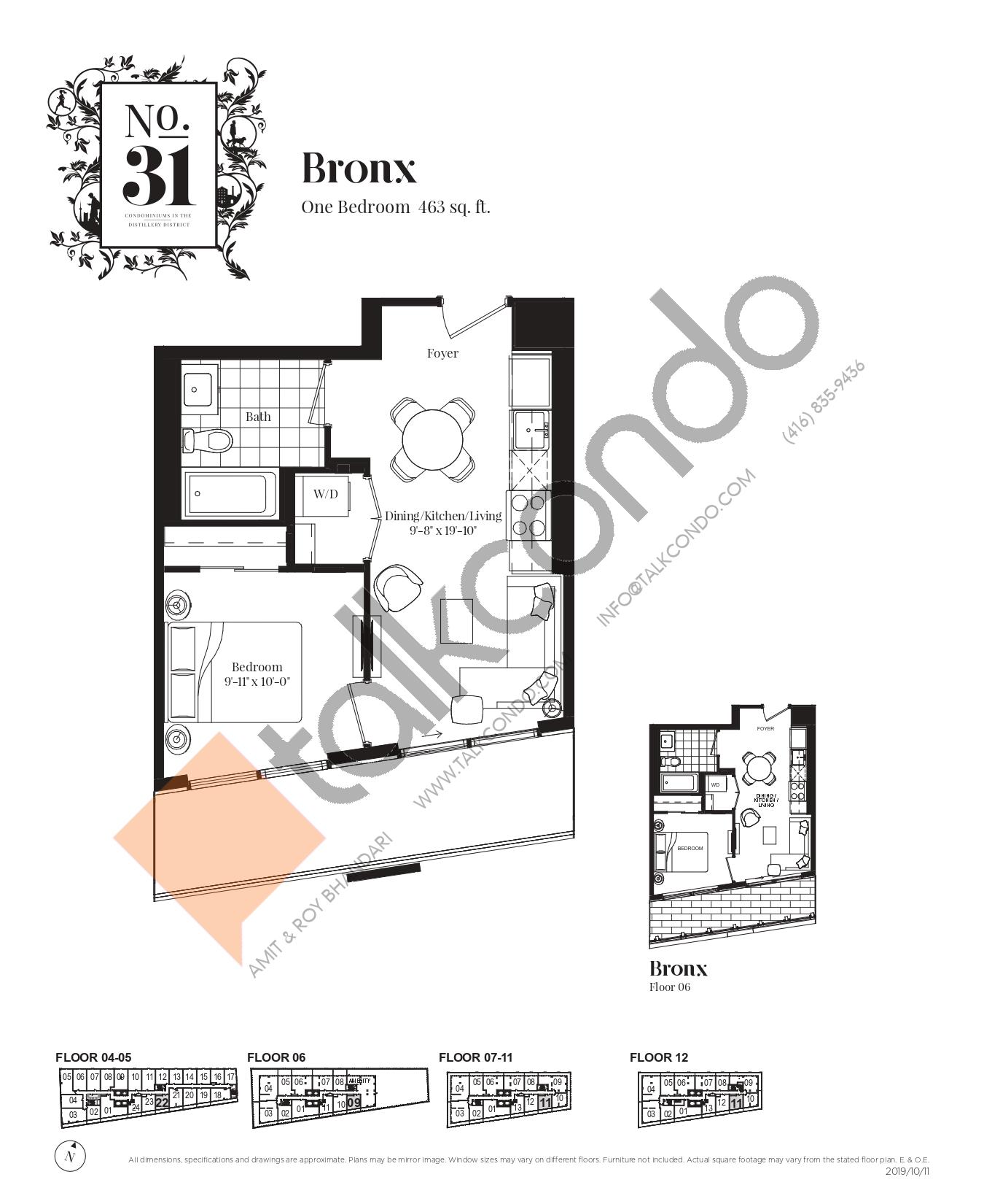 Bronx Floor Plan at No. 31 Condos - 463 sq.ft