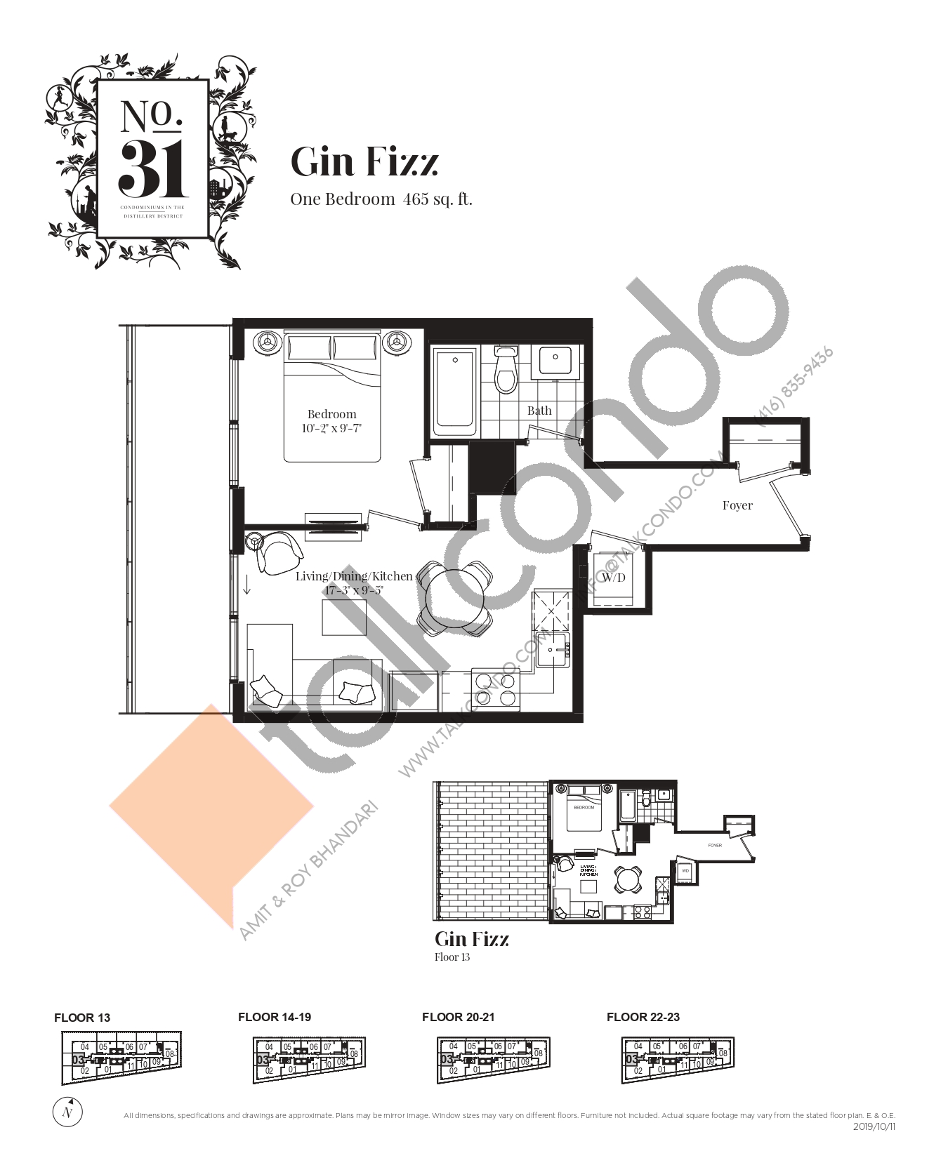 Gin Fizz Floor Plan at No. 31 Condos - 465 sq.ft